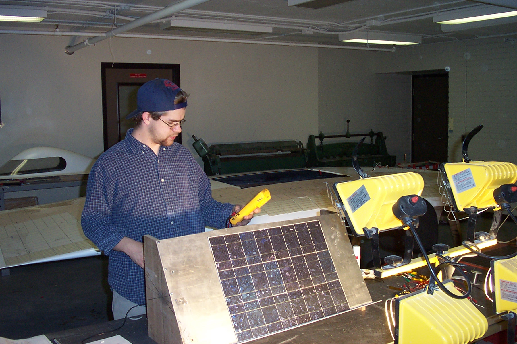 phil next to module test jig with mutimeter.jpg