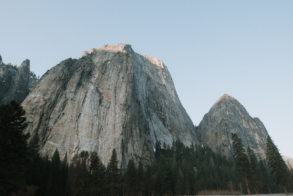 Granite rock formation in Yosemite Valley at sunrise in spring.