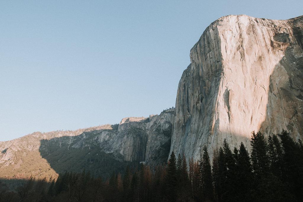 El Capitan at sunrise in April in Yosemite National Park.
