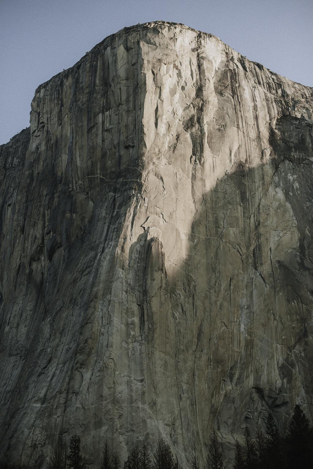 Granite El Capitan in Yosemite Valley at Sunrise in Winter.