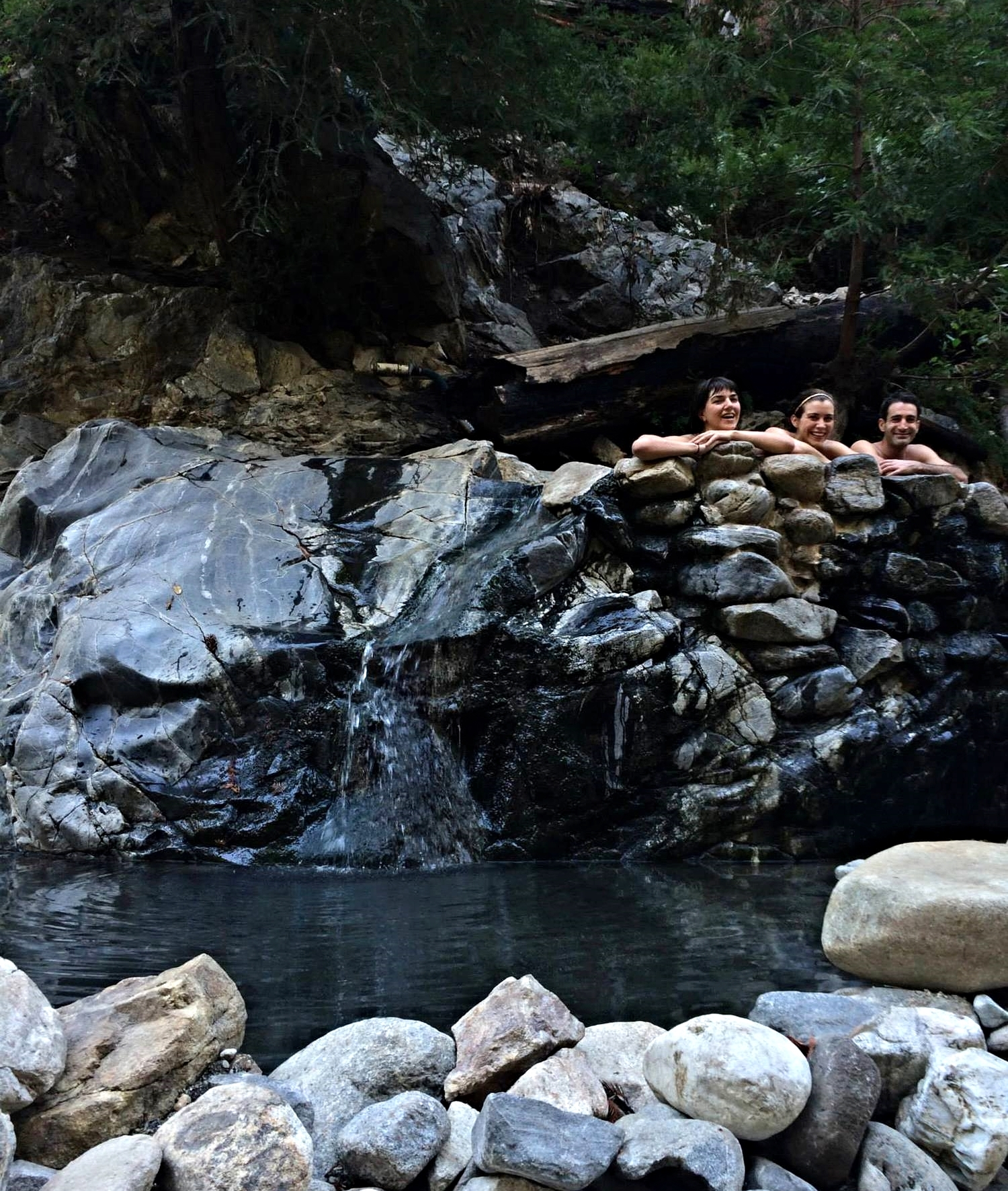 Relaxing in the hot pools before hitting the trail again