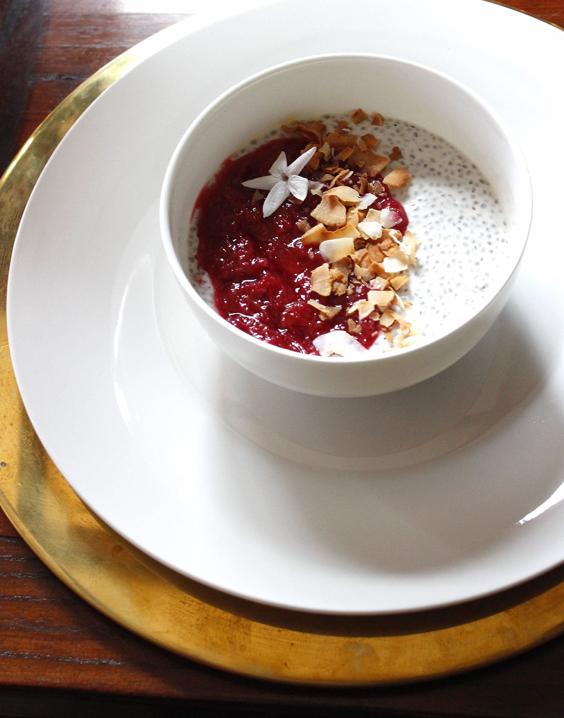 Coconut Chia Pudding with Hibiscus Rhubarb Compote.