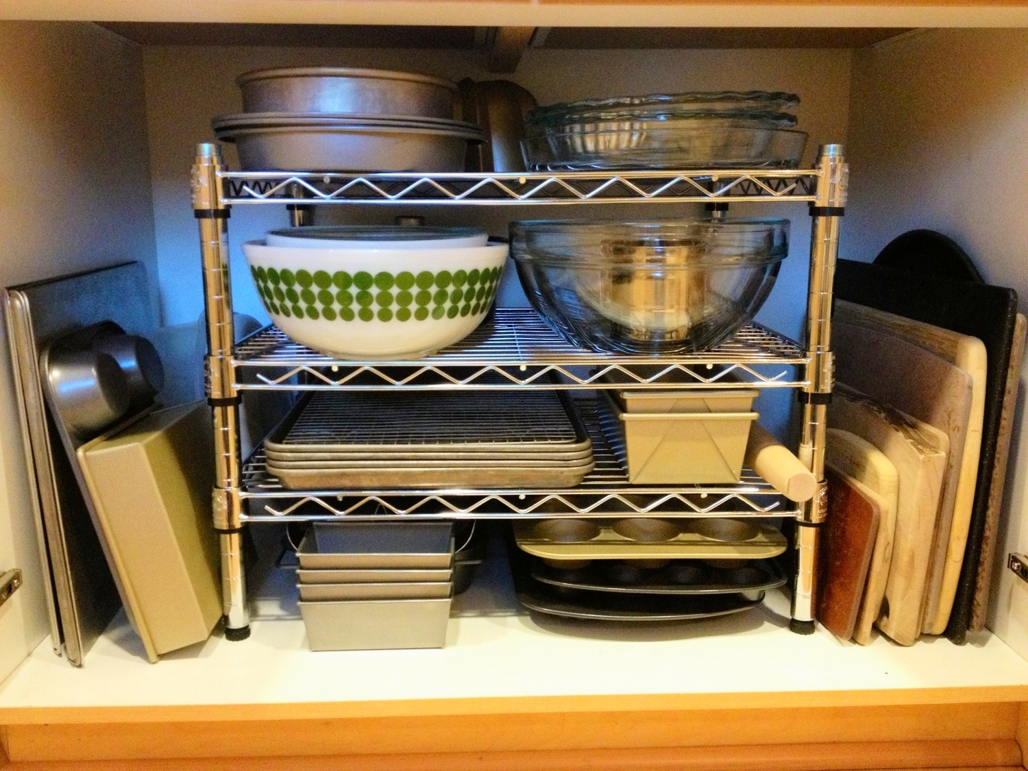 My baking center in my own kitchen is organized with items I use most frequently in the front, while other items are towards the back.