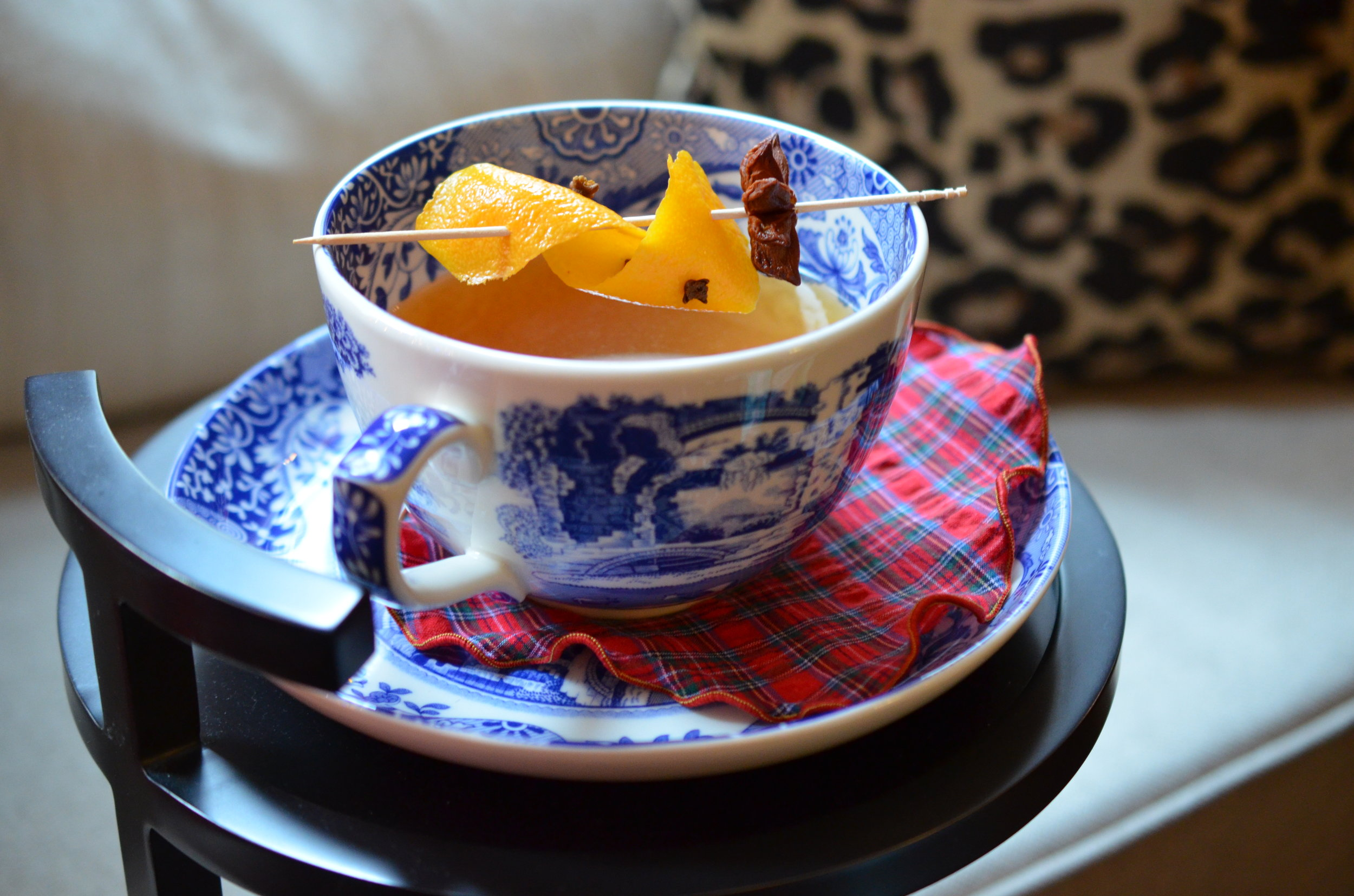 My Warm Winter Glühwein - Inspired by a recent trip to Berlin, Germany for a grand tour of the Christmas markets!  Napkins: Britten Couture Home .  Cup & Saucer: Cassandra's Kitchen.