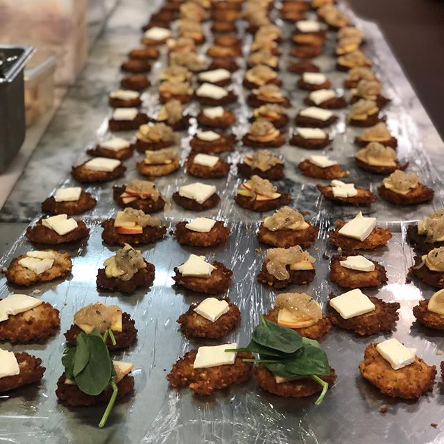All lined up and ready for your next party. We only bust out our latke sliders for private events. #catering #latkesliders #magicbetween2latkes