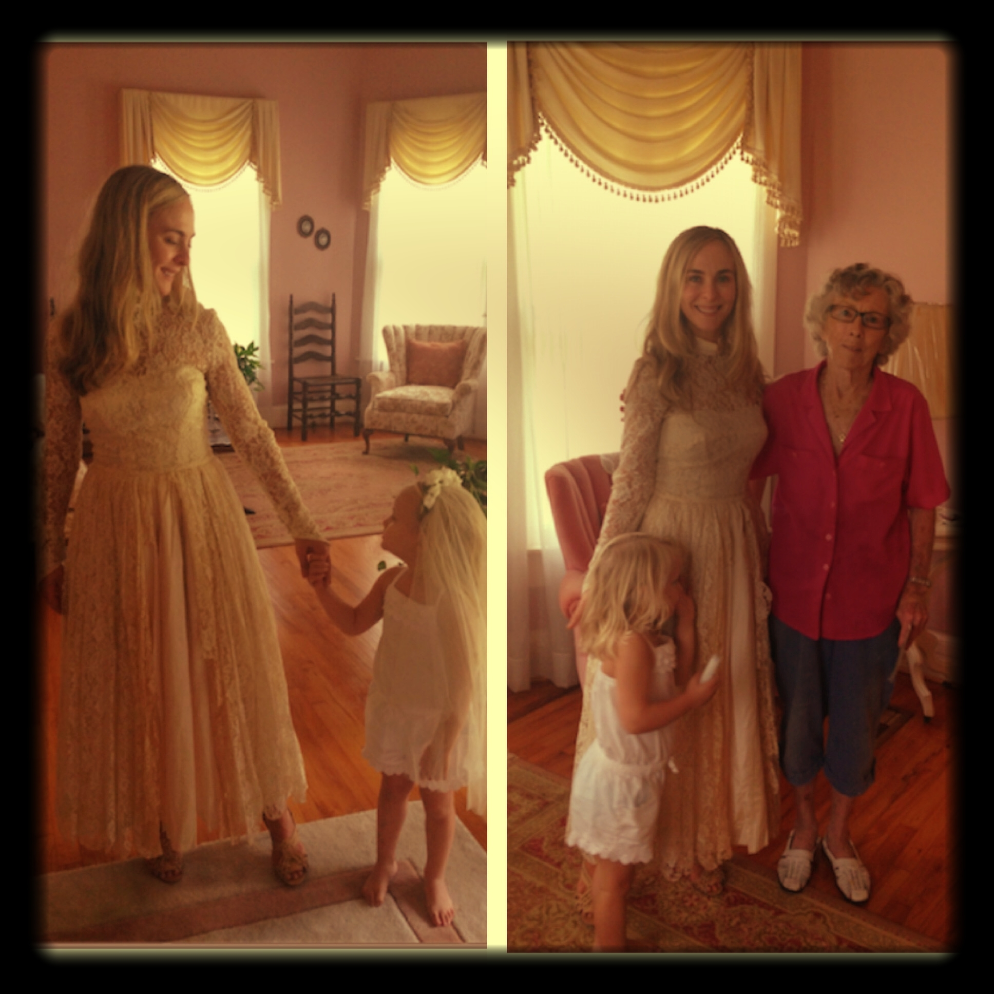 Grandmother's wedding dress. I am comforted knowing that she is with Granddaddy again. September 2013
