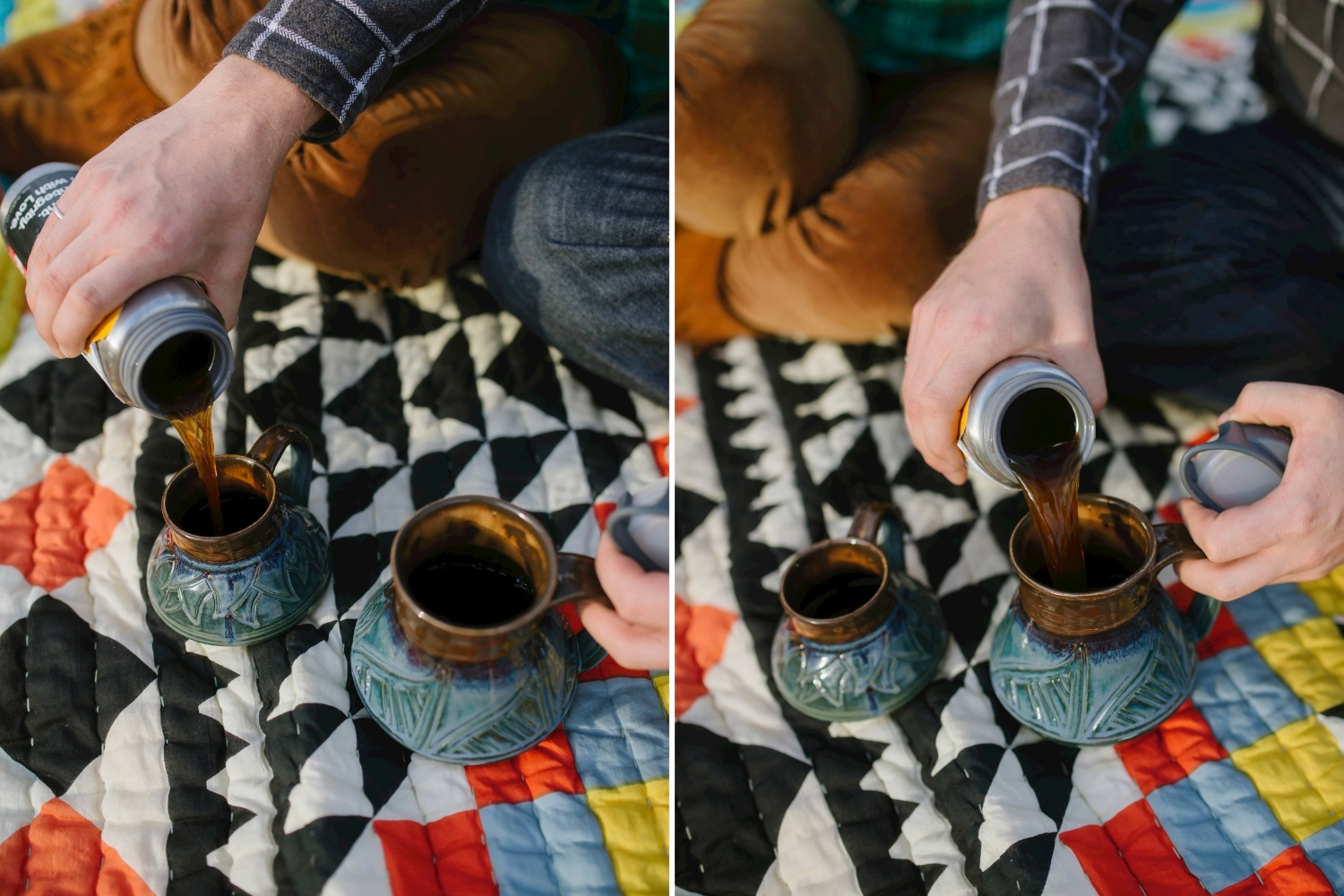Adventurous coffee picnic on a blanket // Adventure engagement shoot by Maddie Mae Photography
