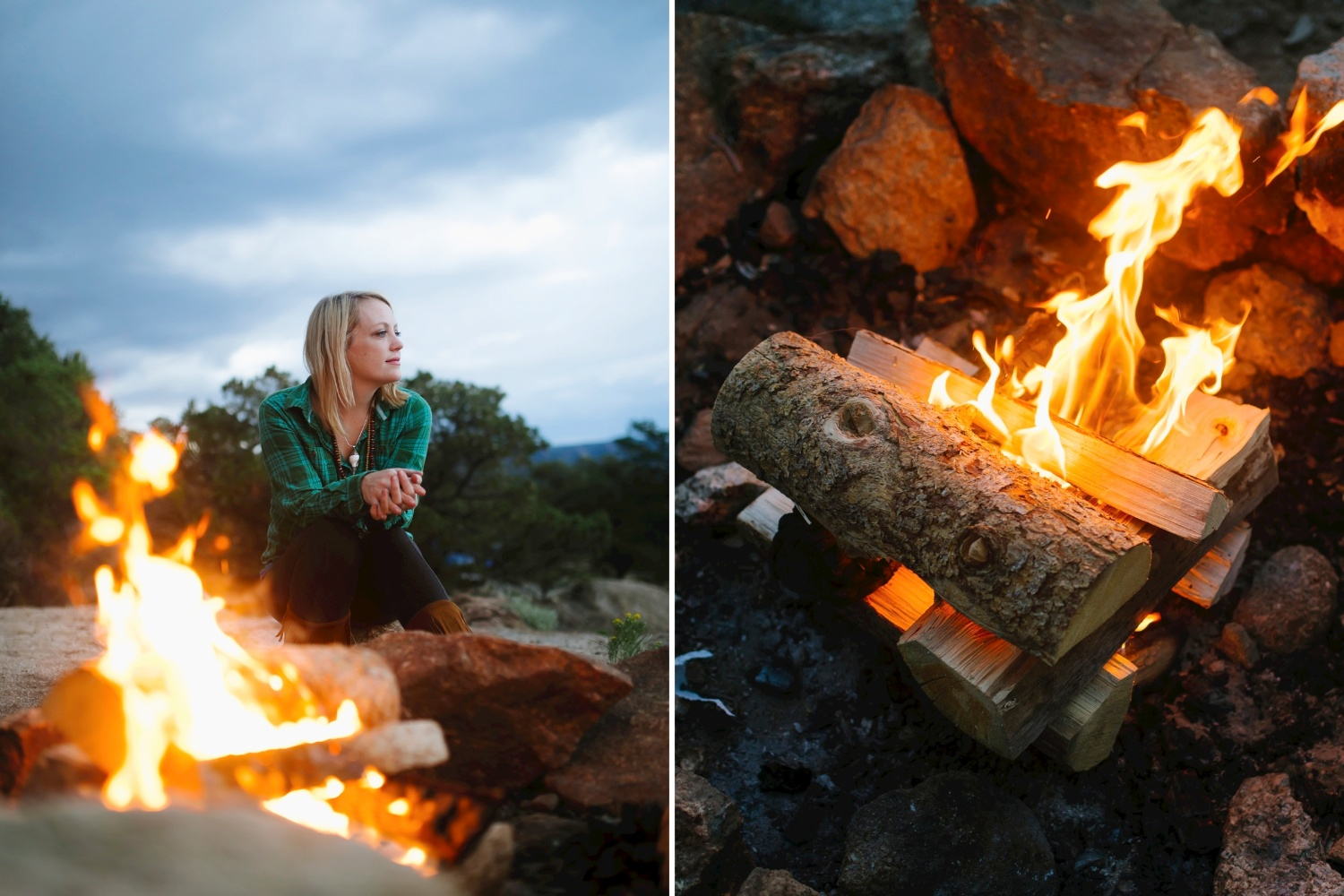 Adventure engagement photoshoot // sitting by a fire // Bonfire engagement shoot by Maddie Mae Photography