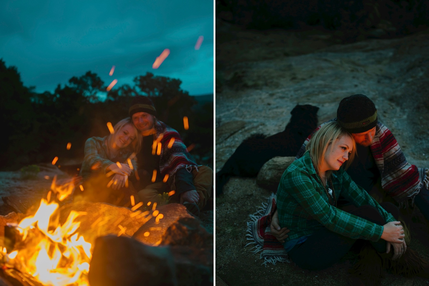 Campfire engagement photo shoot by Maddie Mae Photography
