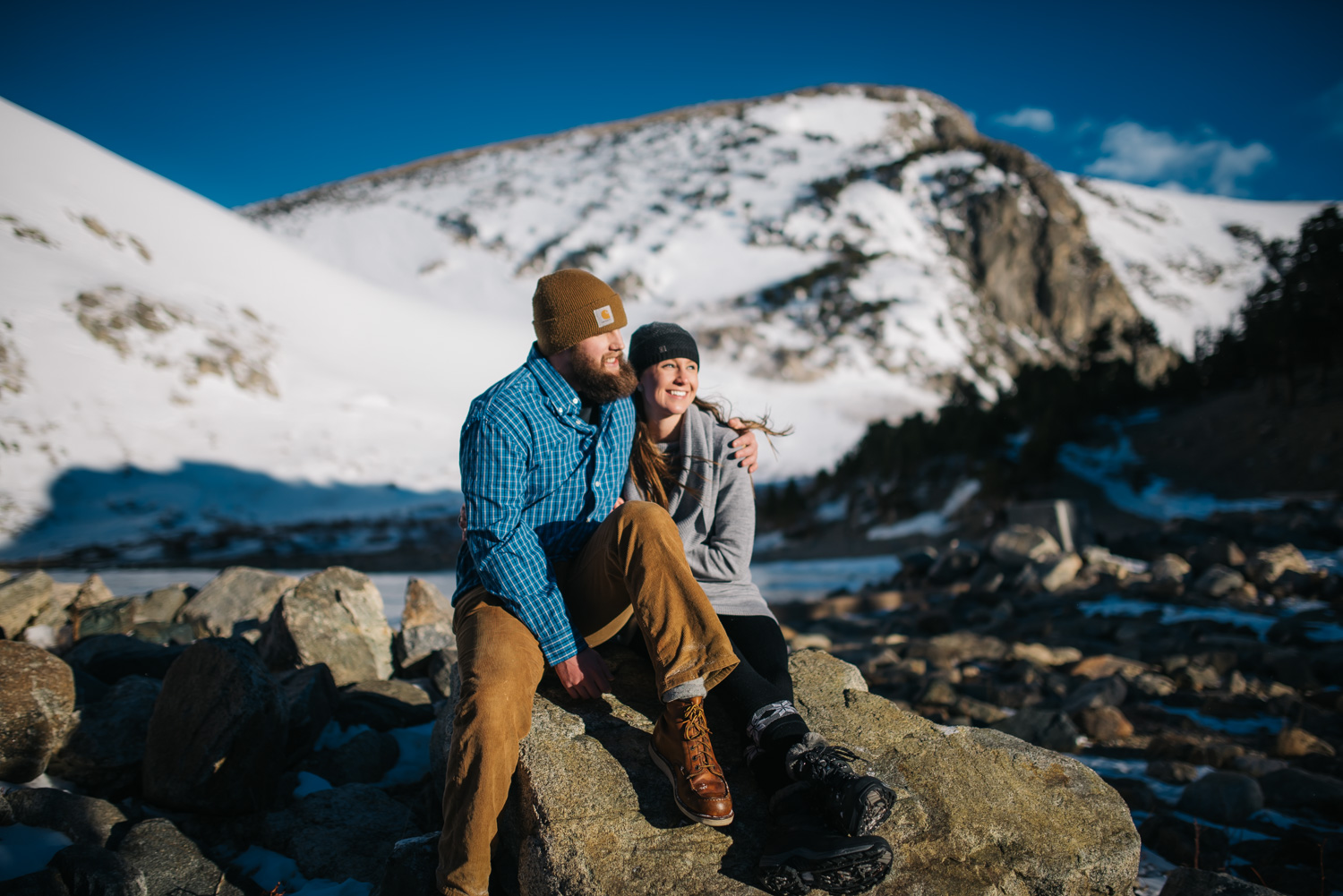 Stunning winter engagement shoot on St. Mary's glacier // Adventure Mountain Engagement Photographer // Maddie Mae Photography