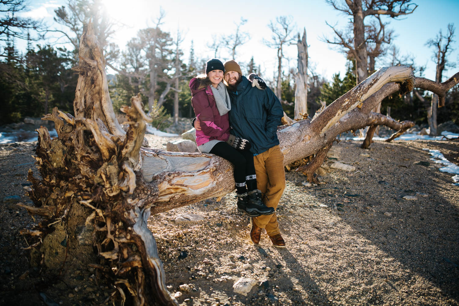 Winter engagement shoot on top of St. Mary's Glacier // Mountain winter engagement photographer // Maddie Mae Photography