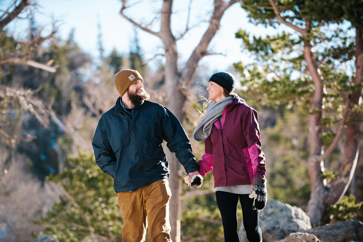 Winter engagement session in Colorado // Mountain engagement photos by Maddie Mae Photography