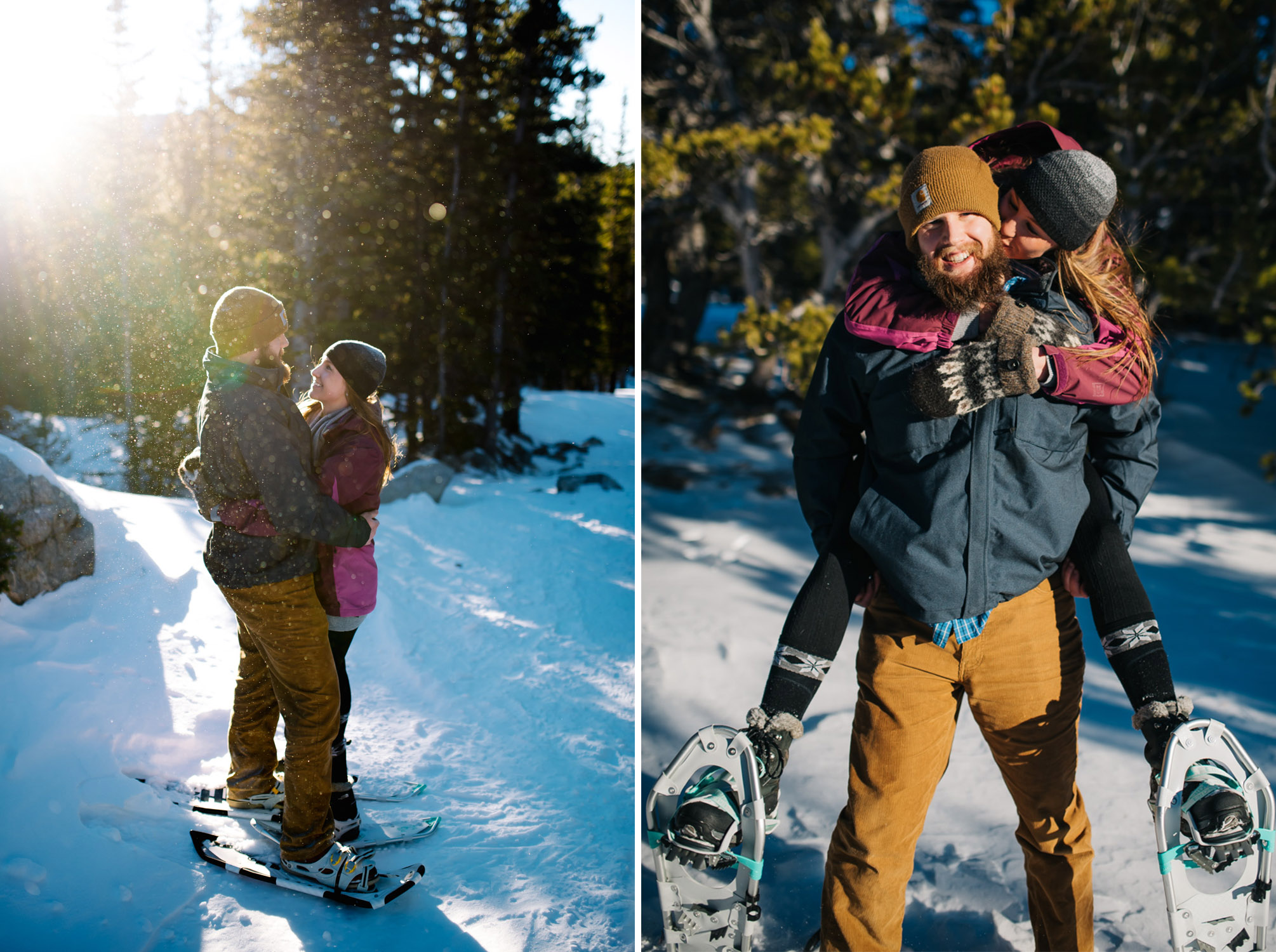 Beautiful winter engagement session in the snowy Colorado mountains by Maddie Mae Photography