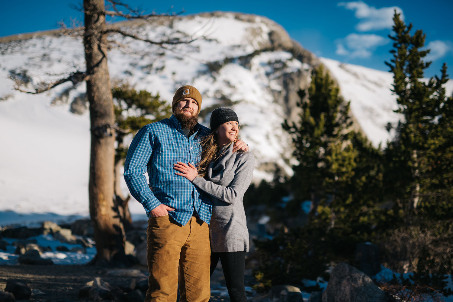 Beautiful winter engagement session on St. Mary's glacier in Golden Colorado // Photos by Maddie Mae Photography