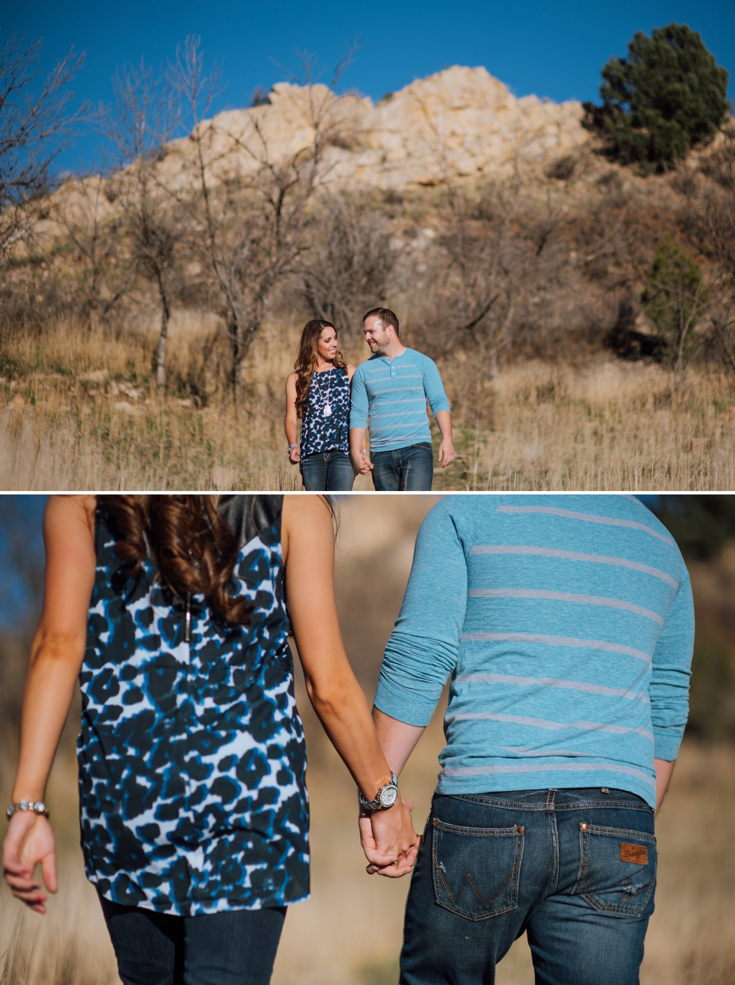 A couple holds hands and walks through a field of grass in Garden of the Gods on their adventure engagement shoot. Colorado Springs engagement photographer - Maddie Mae Photography.