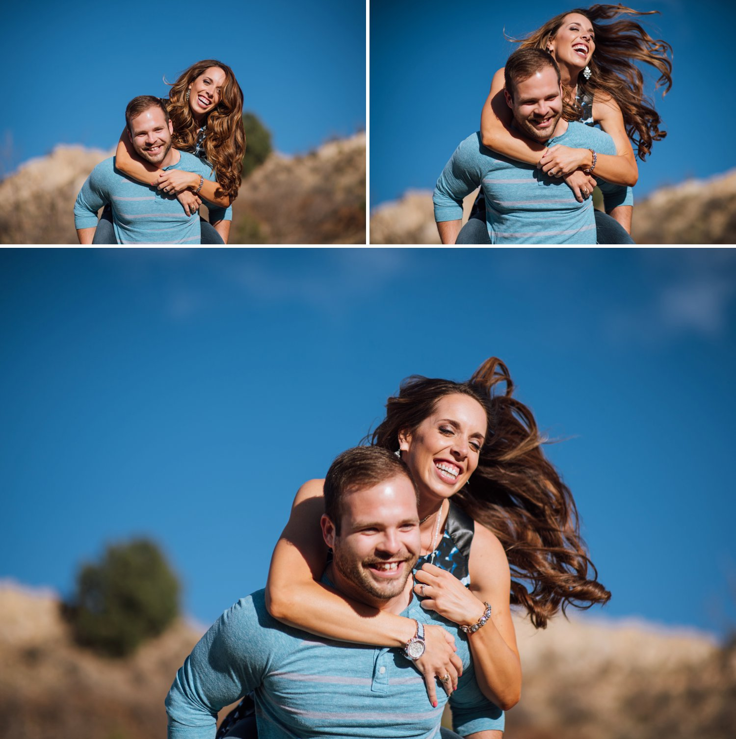 A guy gives his girlfriend a piggyback and runs through a field. Piggyback engagement photo adventure by Maddie Mae Photography.