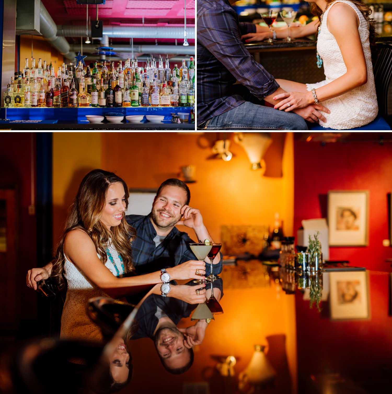 I want to do my engagement shoot in a bar! This couple looks so relaxed as they sip cocktails as the bar for their engagement photos. Photo by Maddie Mae Photography.