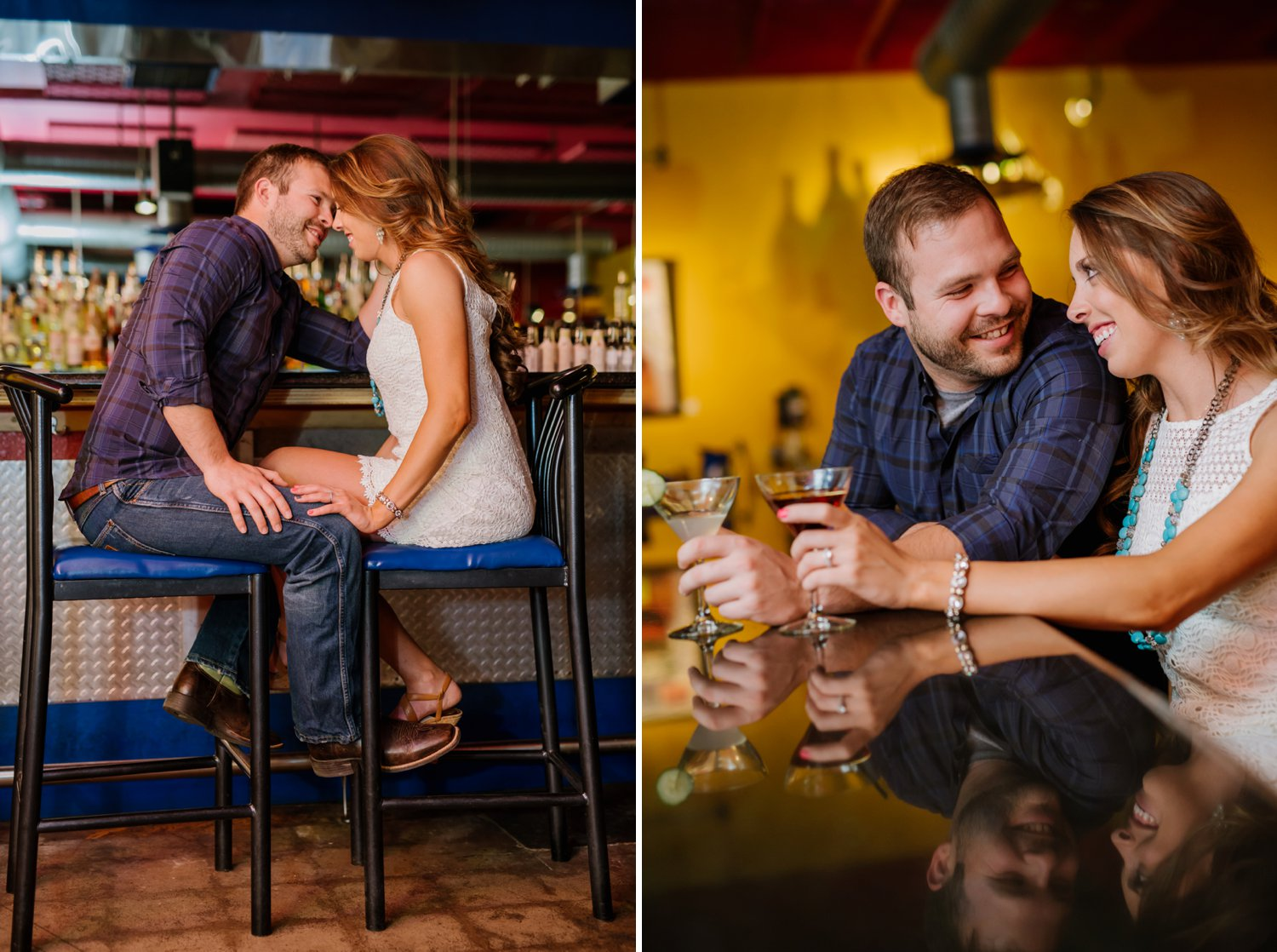 A couple sits by a cocktail bar and sips drinks during their relaxed and candid bar engagement photos. Photos by Maddie Mae Photography.