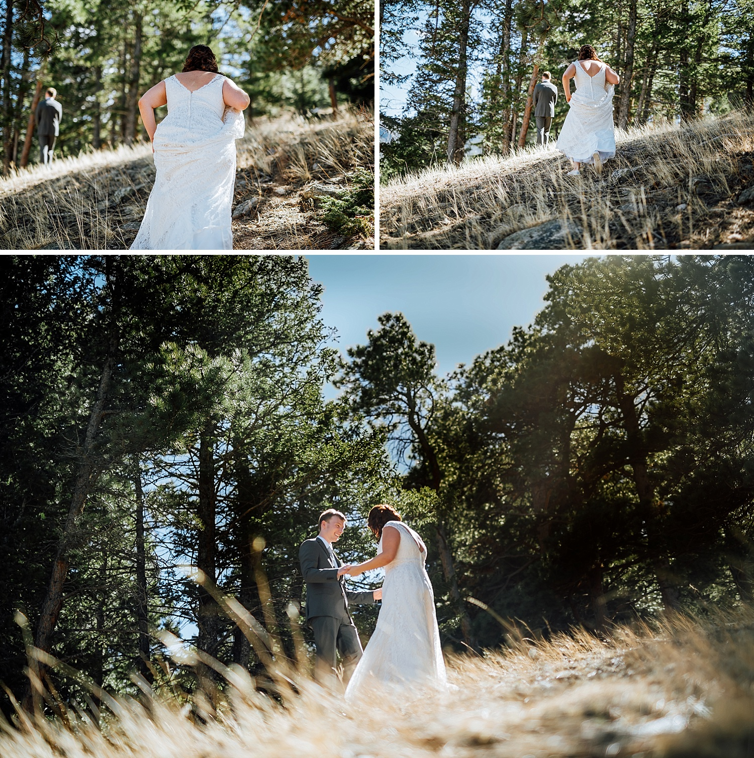 I think I want to do a first look for my wedding. I love how this was taken in the mountains- her white dress really pops against the trees and the look on his face is so cute! Photo by Maddie Mae photography