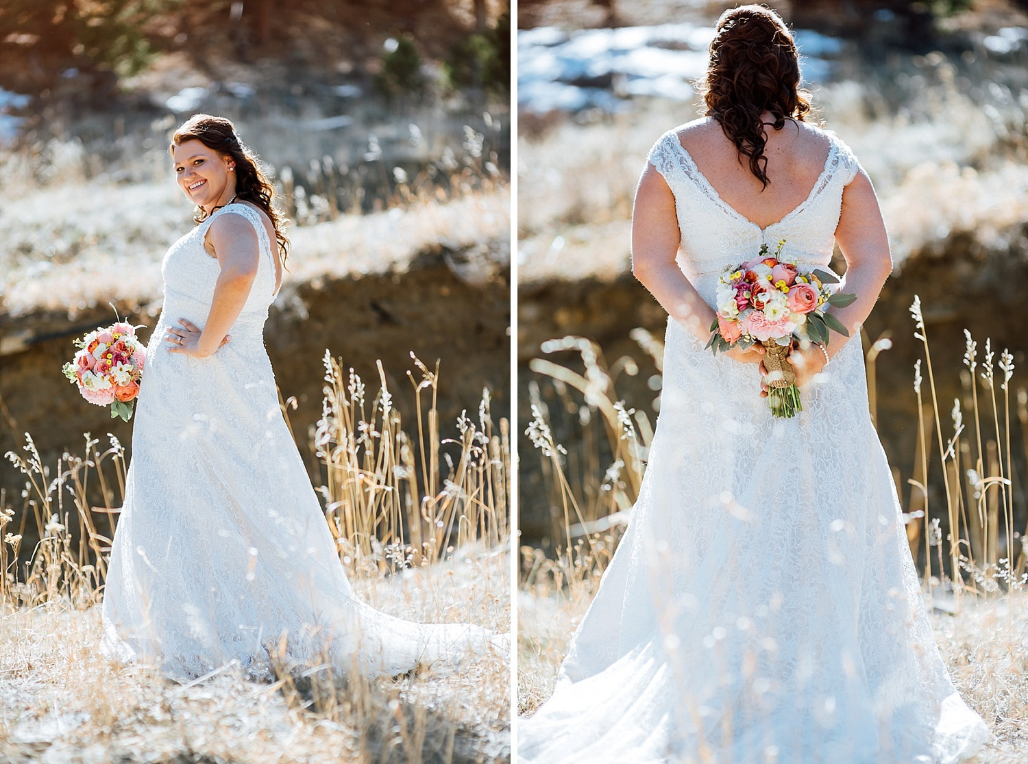 I love the colors in the bouquet! Such a nice contrast to the dress. Also love how beautiful this mountain location is!Photo by Maddie Mae Photography