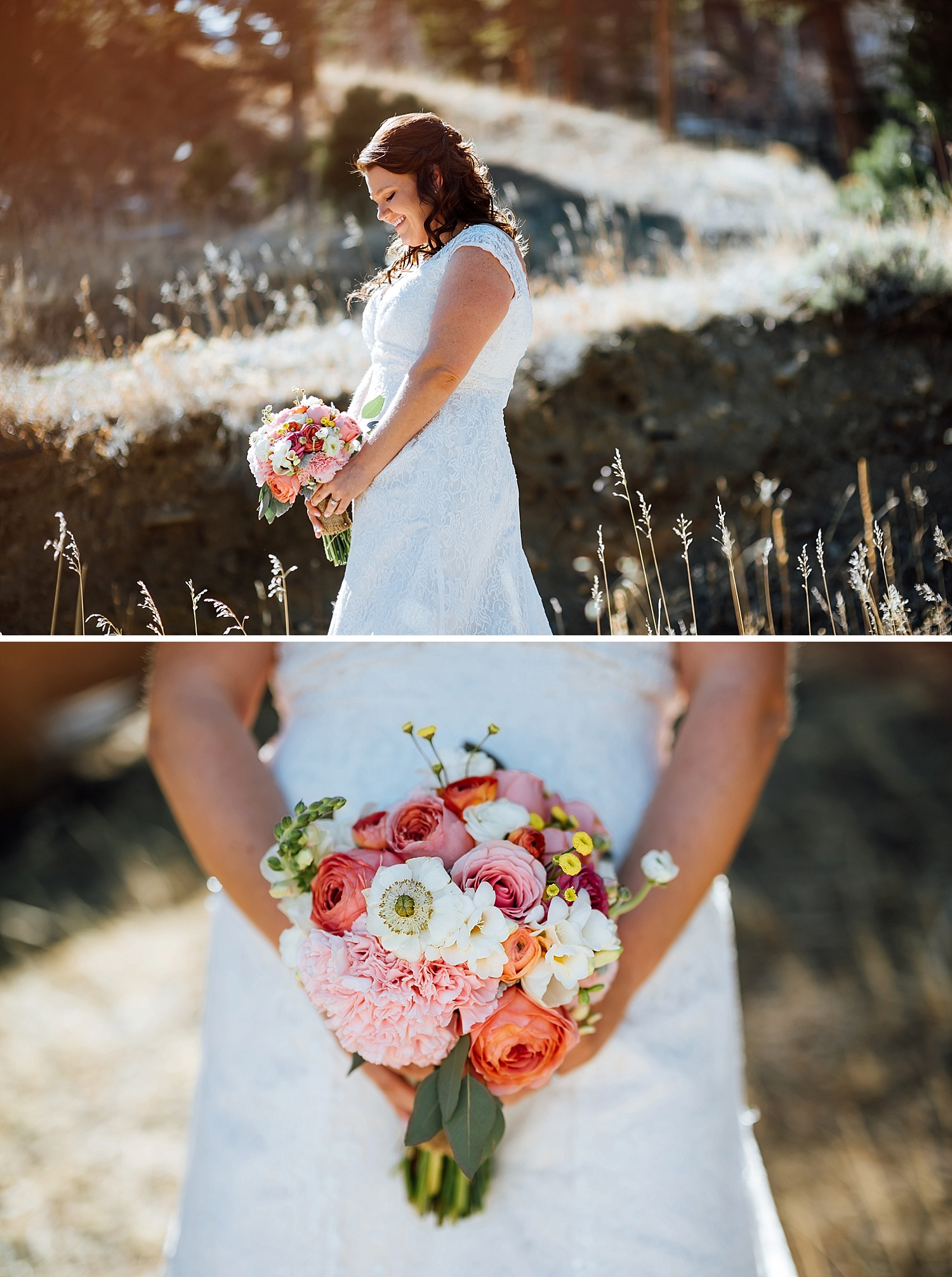 This bouquet with shades of coral, pink, orange, white and yellow is beautiful! Paired with the lace wedding dress is perfection! I love the how the bright colors stand out against the white. Beautiful bridal photos.Photo by Maddie Mae Photography