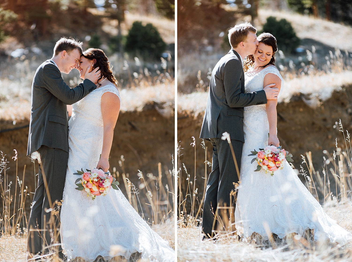 I love how the bride and groom are posed in these mountain wedding photos. I was thinking about having my wedding up in Estes Park..Photo by Maddie Mae Photography