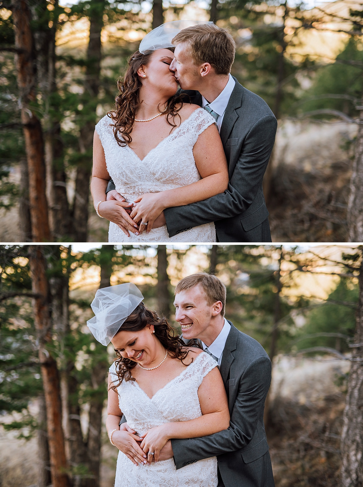 I love how the bride and groom are posed in this picture. Her veil is so pretty! The perfect size for an adventurous wedding photo!Photo by Maddie Mae Photography
