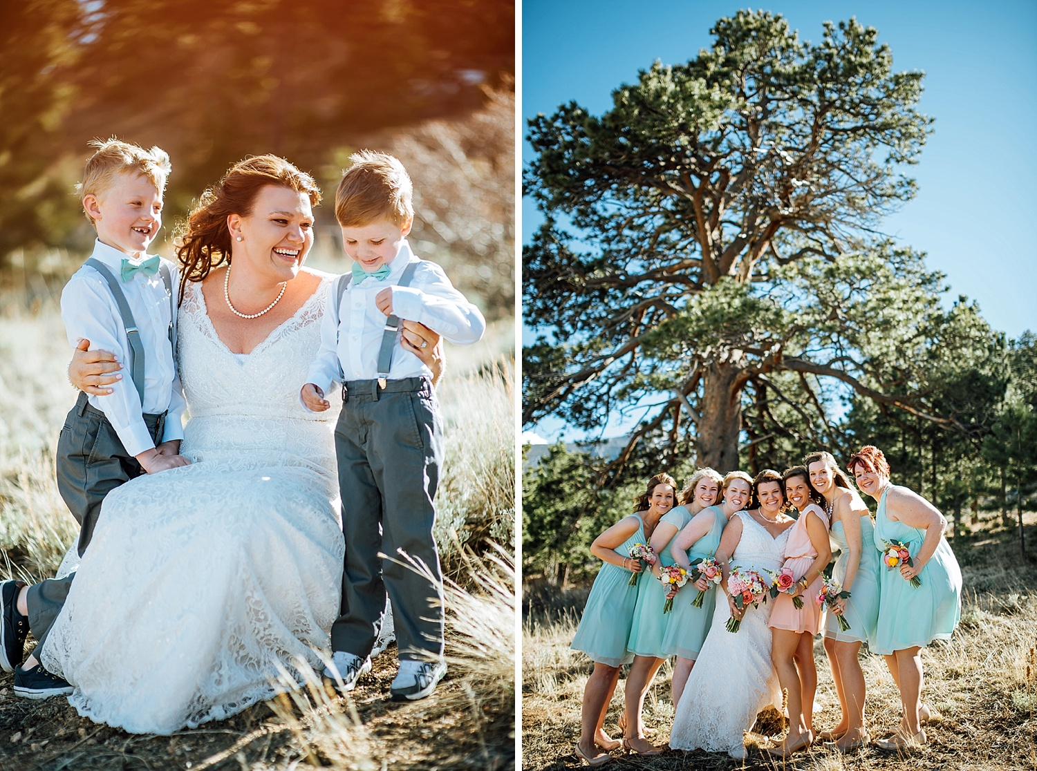 The pink, blush, coral, teal, aqua and tiffanyblue wedding color scheme is so unique! It's perfect for an adventurous Colorado wedding!Photo by Maddie Mae Photography