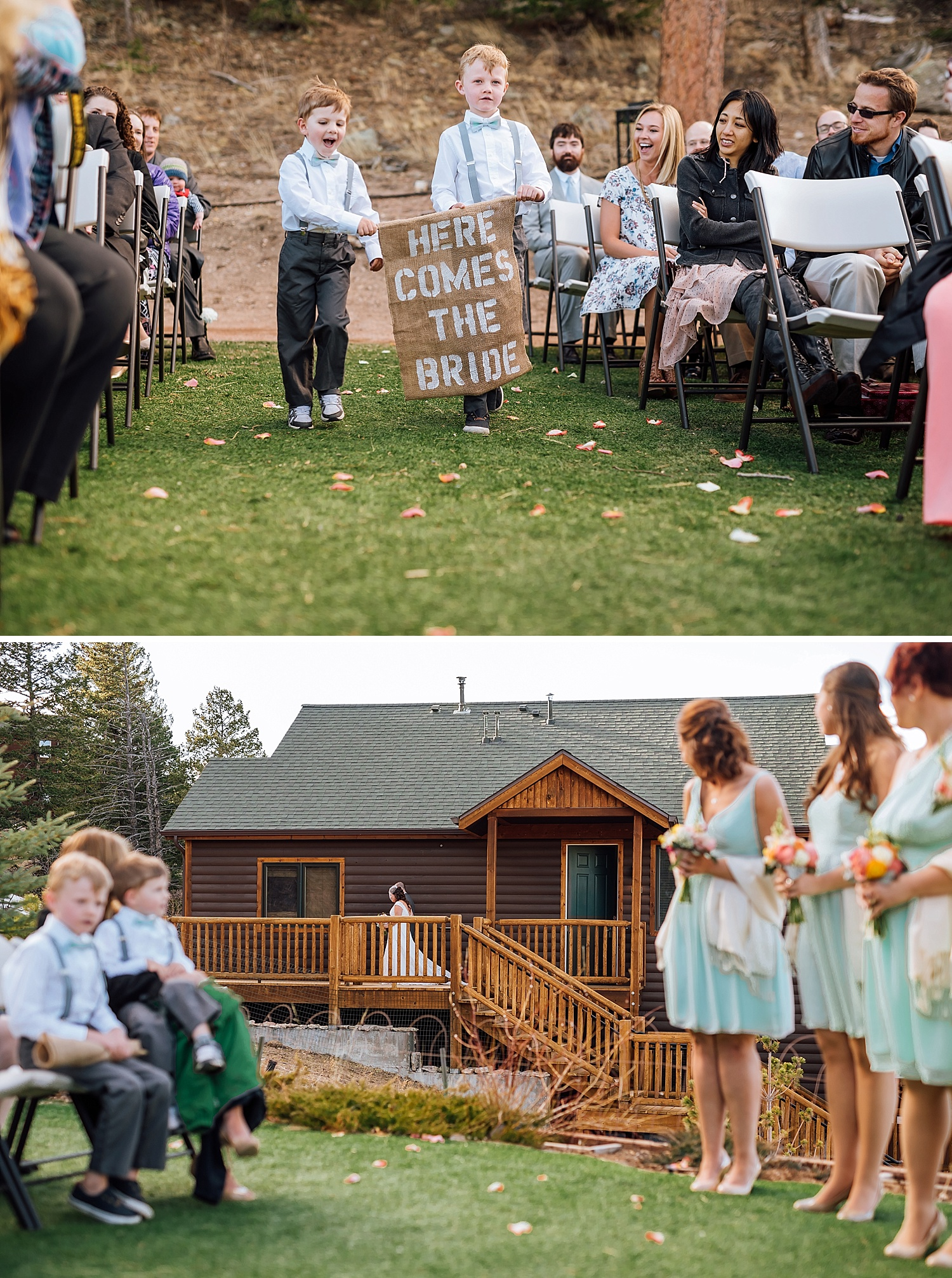 """What a cute idea! Having younger relatives walk down the aisle with a """"here comes the bride"""" sign. Mary's Lake Lodge in Estes Park, Colorado would be the perfect place for such a fun mountain wedding!Photo by Maddie Mae Photography"""