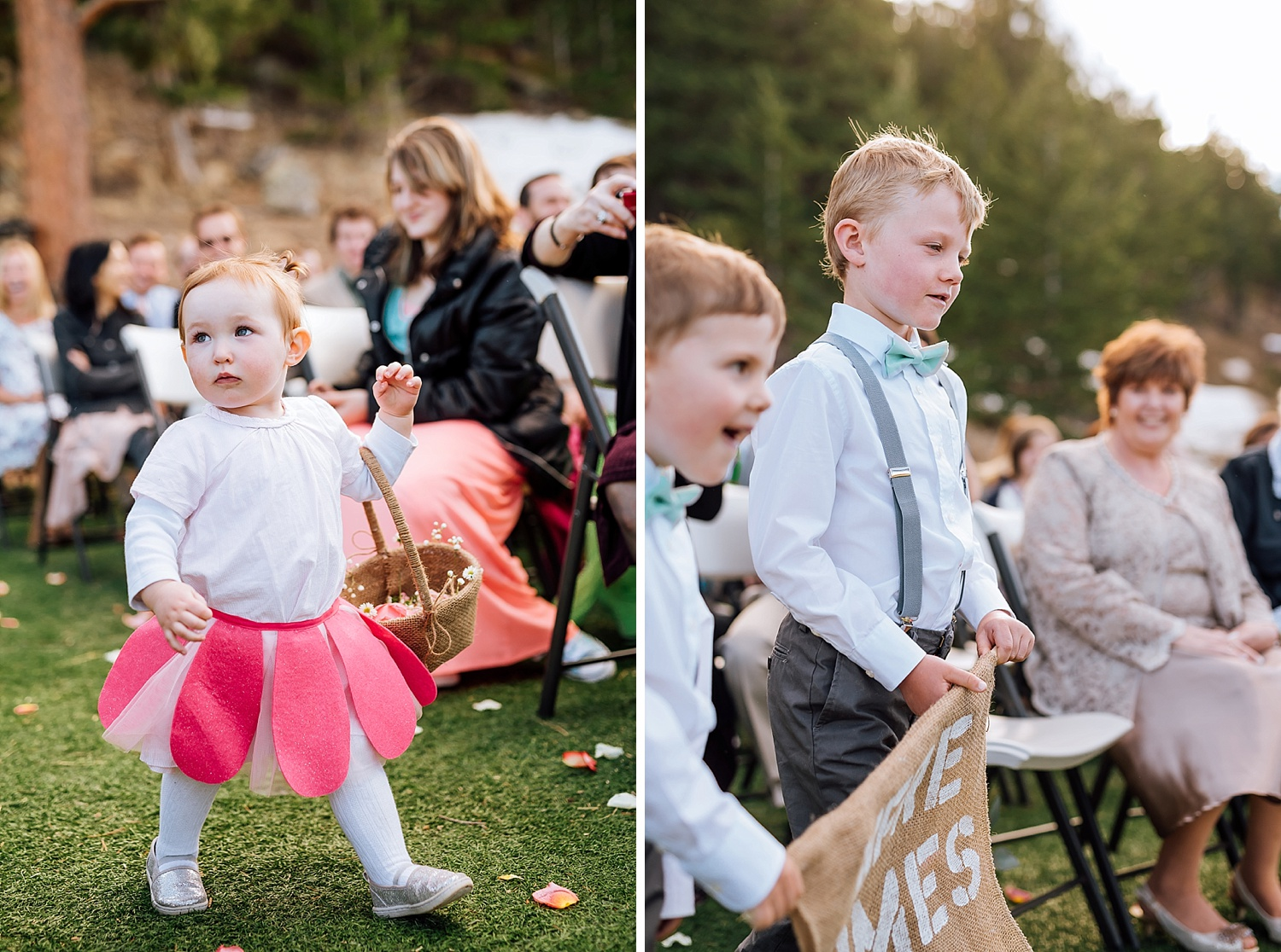 The ring bearers and flower girl looks so cute in this blush pink and tiffany blue color scheme!Photo by Maddie Mae Photography