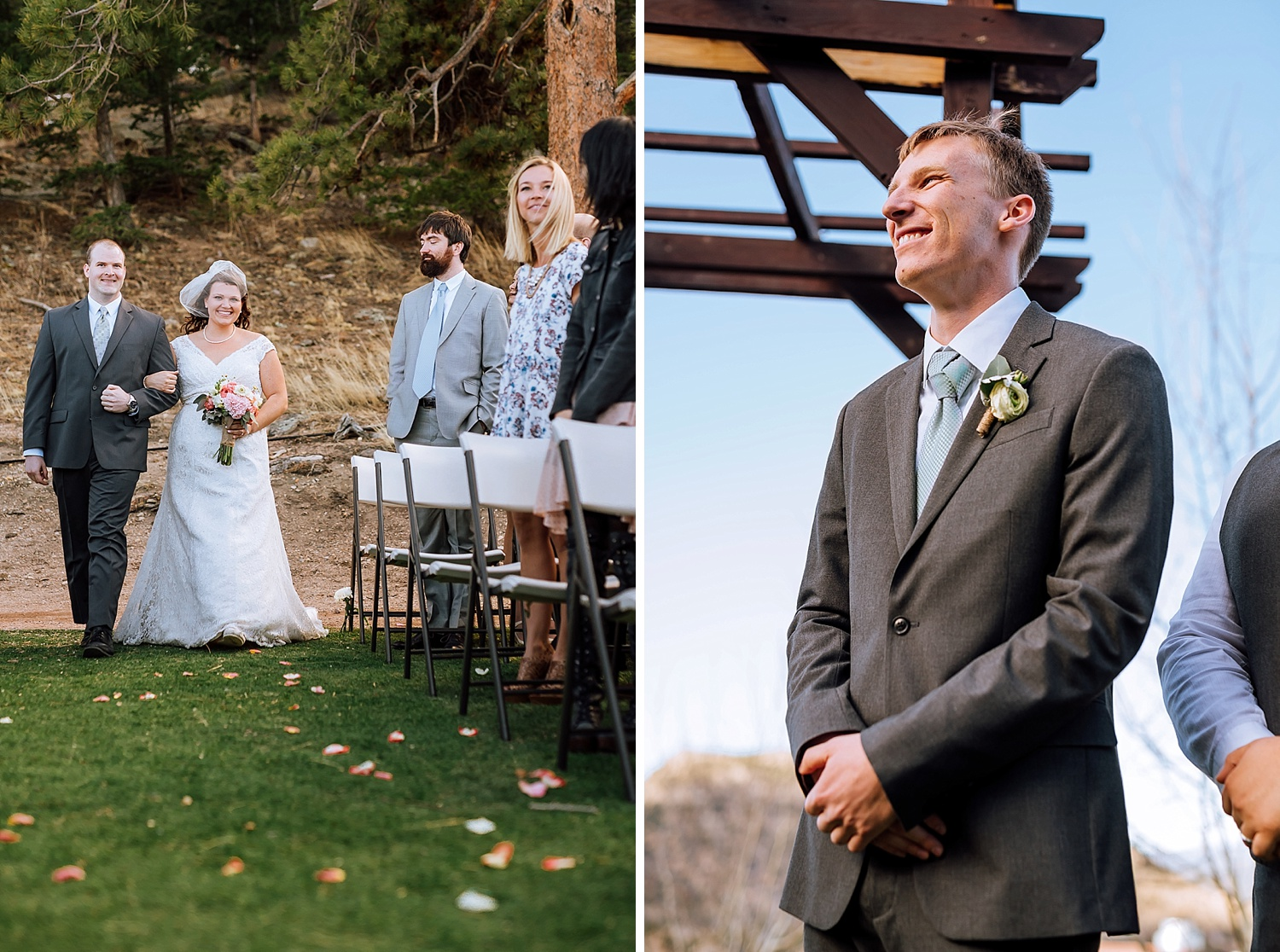It would be so cool to walk down the aisle with mountains all around. I have always loved Estes Park weddings.Photo by Maddie Mae Photography