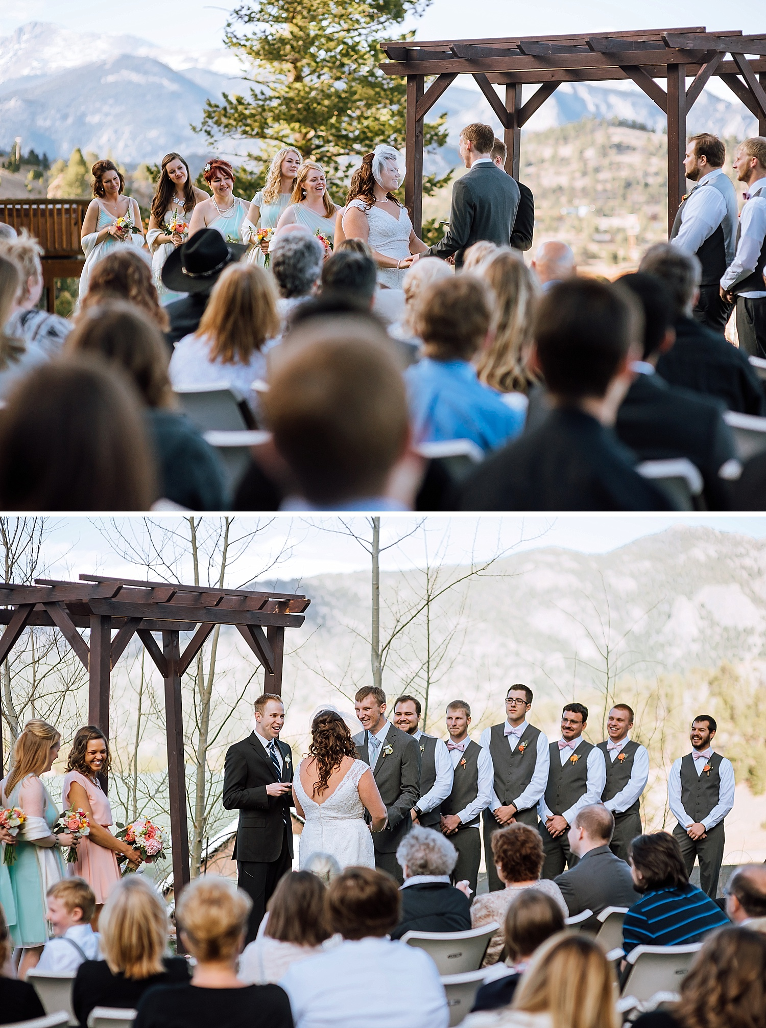 I love these blush pink and tiffany blue wedding colors. They make the ceremony seem so bright. I really want a mountain wedding..Photo by Maddie Mae Photography