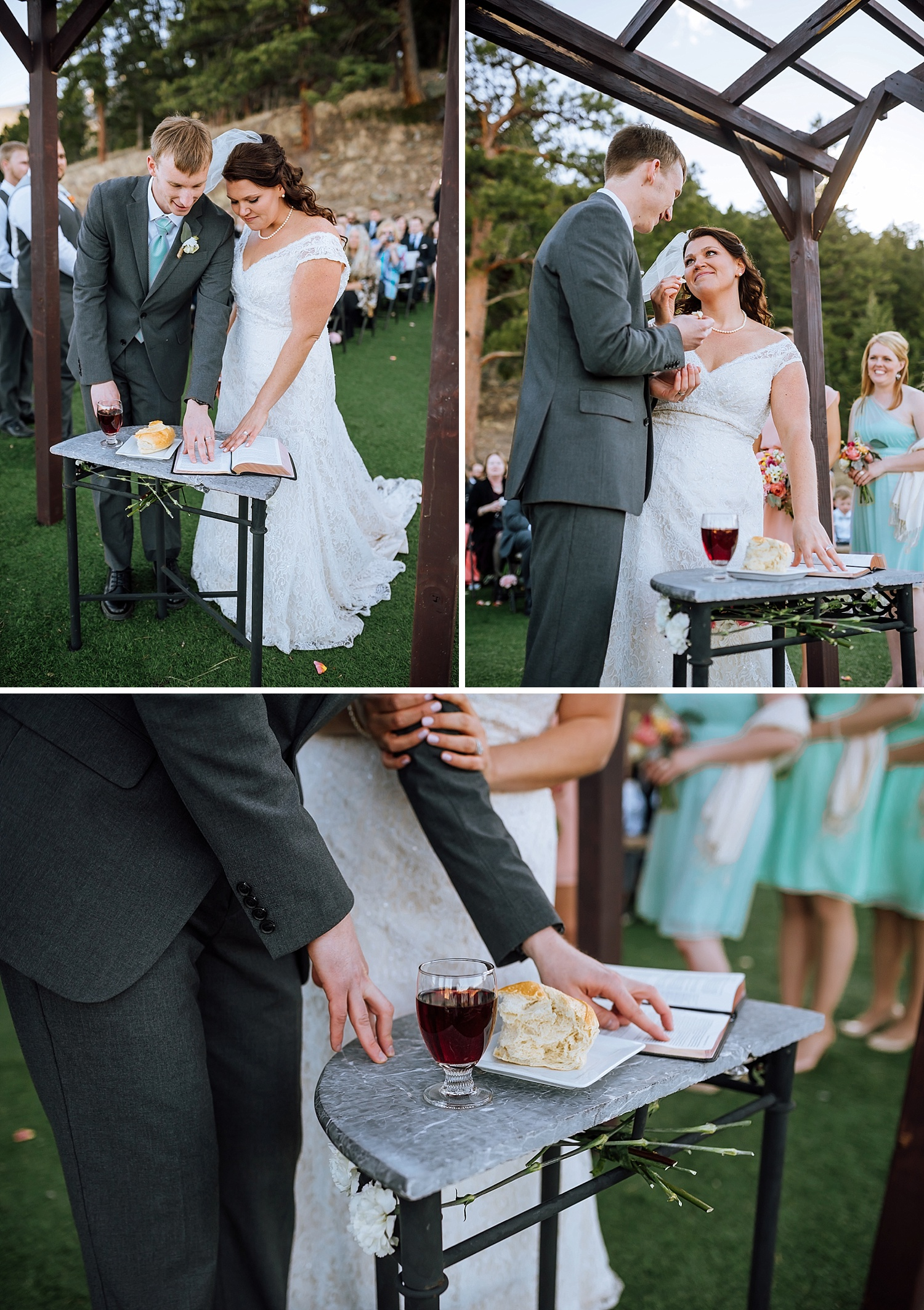 This is such a neat idea. Have communion during your wedding ceremony. This is a sweet touch. Photo by Maddie Mae Photography