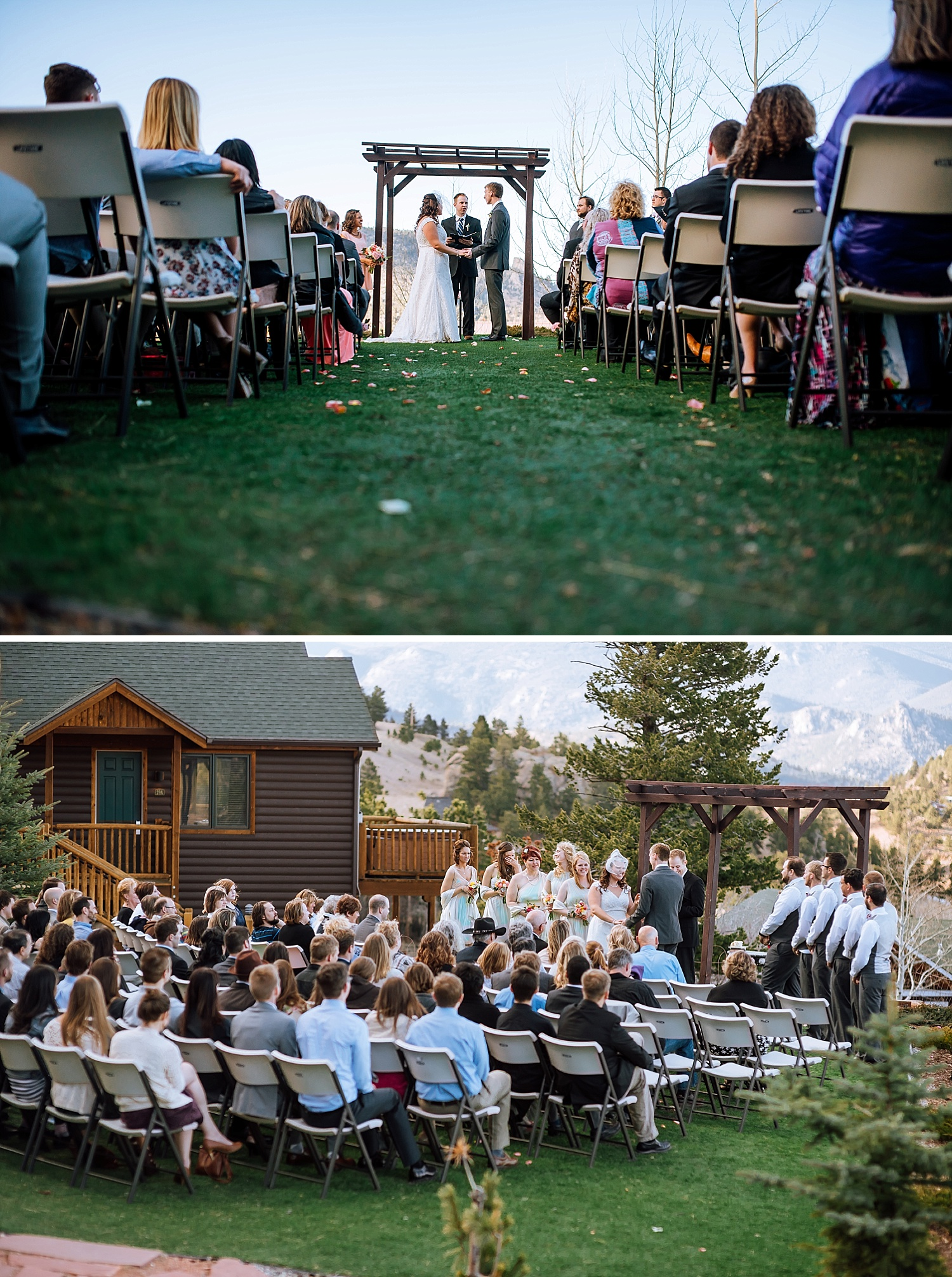 Mary's Lake Lodge is the PERFECT venue for a mountain wedding! I love this! Colorado is so beautiful.Photo by Maddie Mae Photography