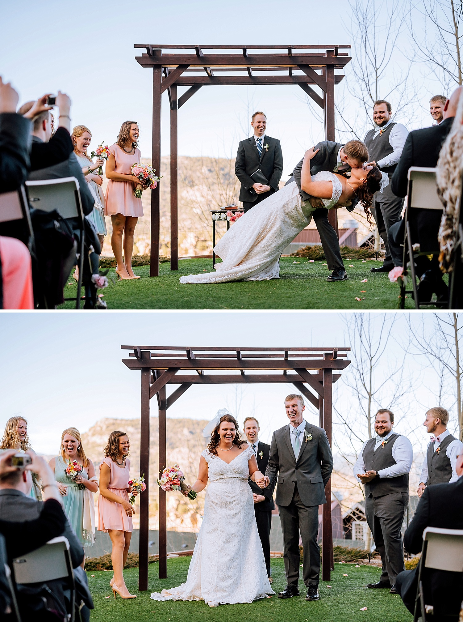 I love dip first kiss wedding photos! Mary's Lake Lodge is such a beautiful place for a wedding ceremony! Ilove Estes Park!!Photo by Maddie Mae Photography