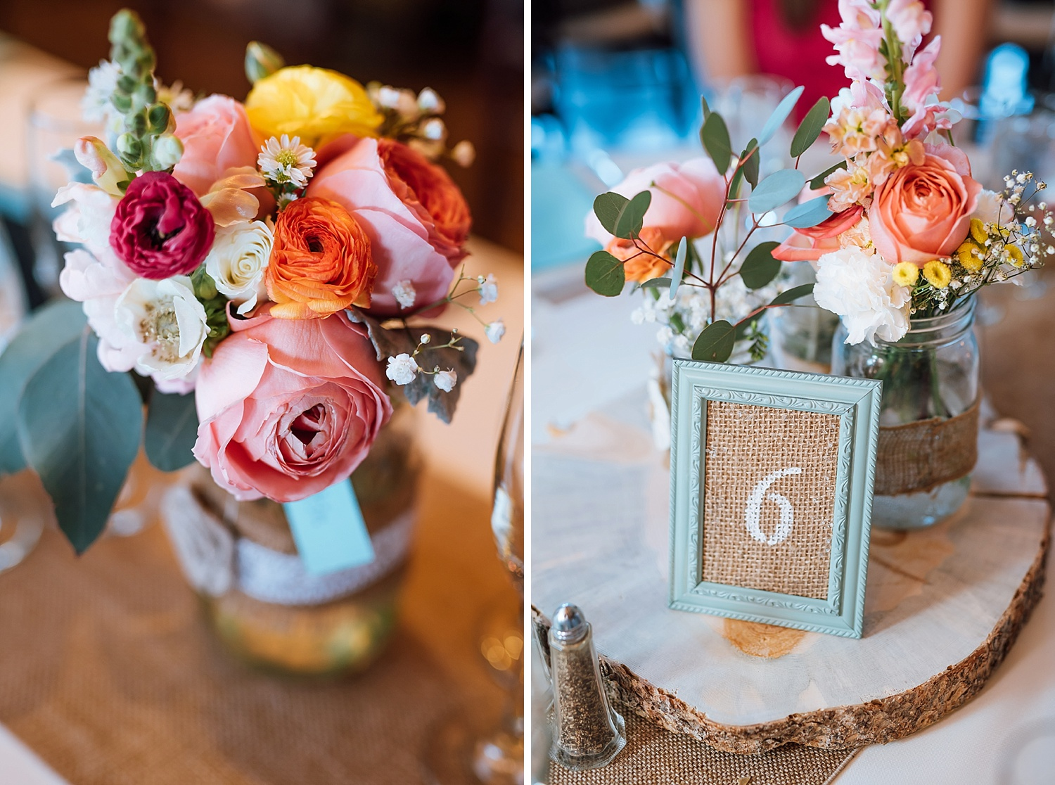 The shades of pink, orange, yellow and red in these reception flowers and amazing! I also love the burlap framed table number with the wood underneath it! Beautiful!Photo by Maddie Mae Photography