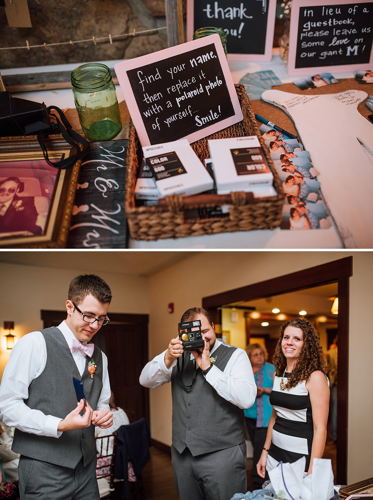 This is an awesome idea! I'm totally going to steal this! When your guests show up to the wedding reception, have them replace their name card with a polaroid picture of themselves!Photo by Maddie Mae Photography