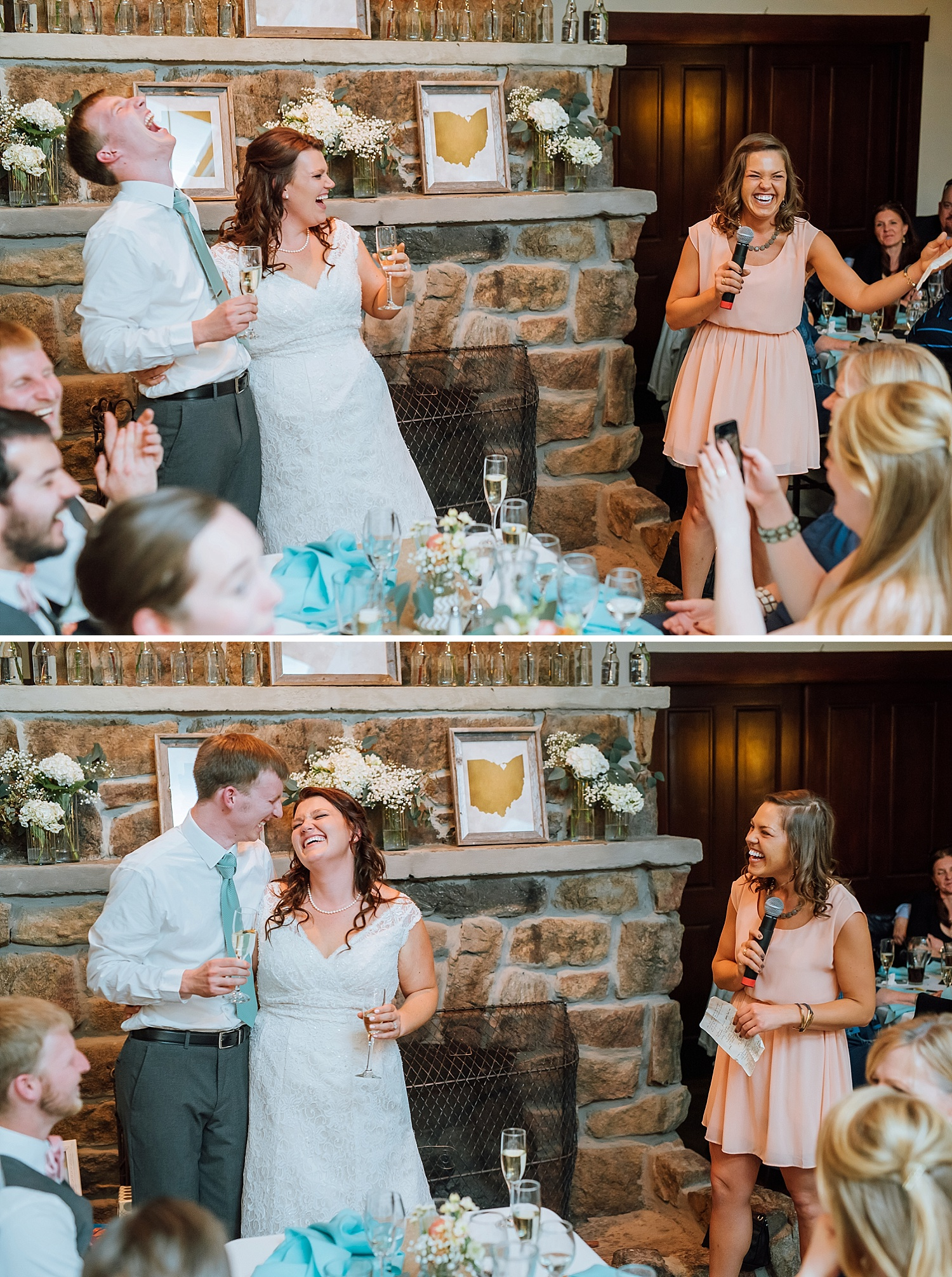 This blush, coral, light pink and teal, aqua, tiffany blue color scheme is perfect for this mountain themed wedding reception up in Estes Park, Colorado. I love the couple's reactions to the maid of honor's toast! Too cute!Photo by Maddie Mae Photography