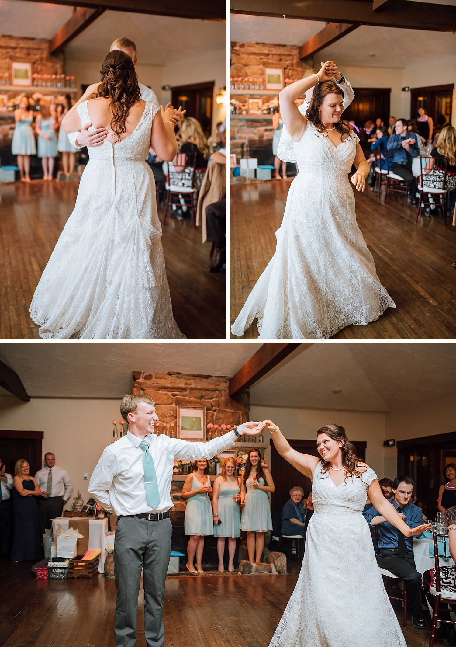These first dance photos are so sweet! I love this reception venue! Mary's Lake Lodge, Estes Park!Photo by Maddie Mae Photography