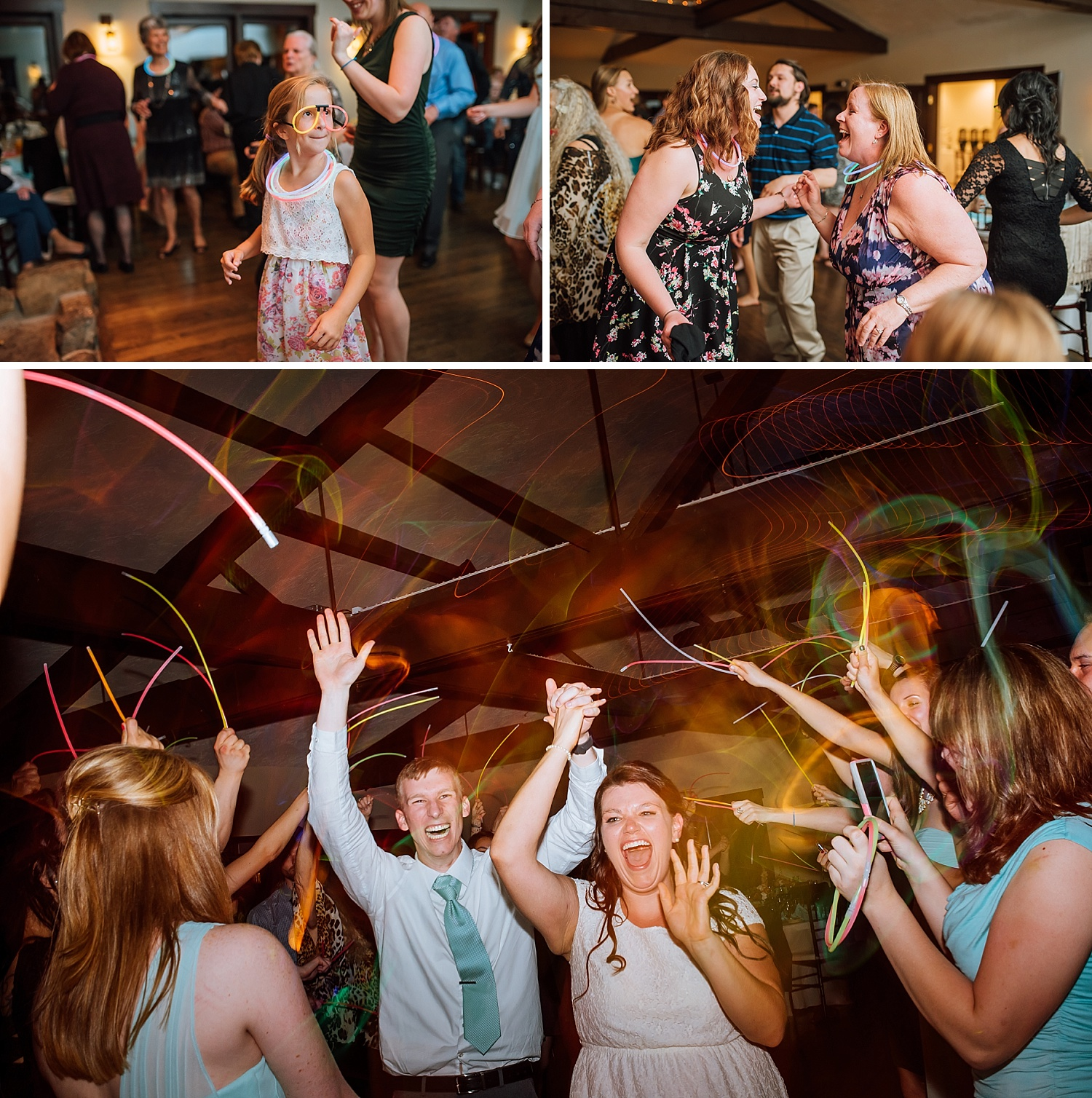 This is such a great idea! Give the guests glow sticks and glow stick glasses to dance with. Then, have a glow stick exit. This reception, at Mary's Lake Lodge up in Estes Park, is the perfect size and place for such a fun wedding.Photo by Maddie Mae Photography