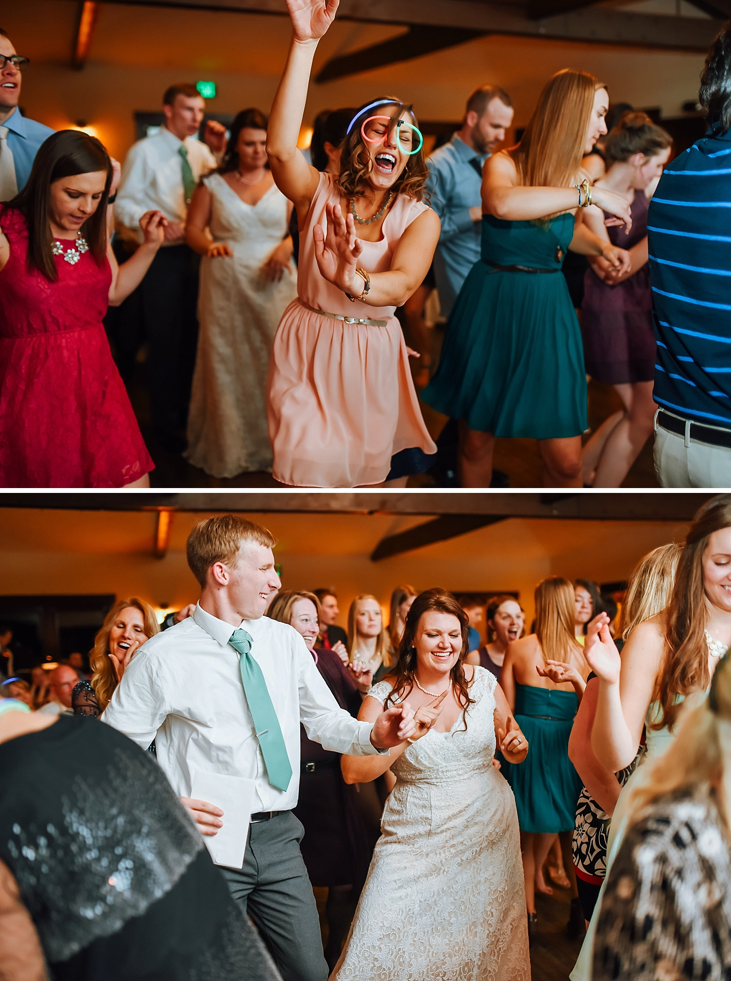 I love the wedding party dancing with glow stick glasses on. Mary's Lake Lodge is an awesome wedding reception venue! Love it!Photo by Maddie Mae Photography