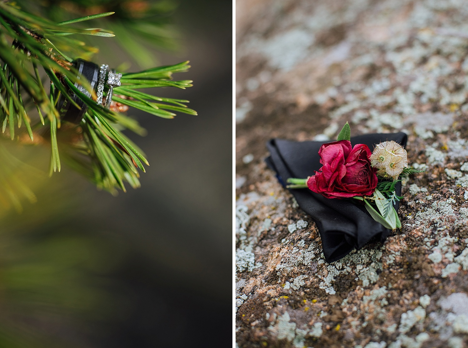 I love how these diamond wedding rings look hanging on the spruce tree. And that wildflower red, green, and cream boutonniere (boutineer) is beautiful. Photo by Maddie Mae Photography
