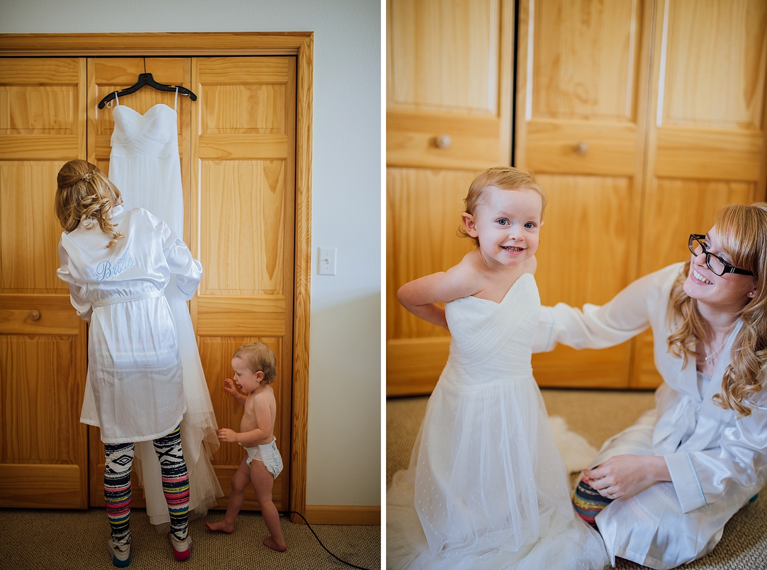Aw! I love this little girl trying on her mom's wedding dress. This is precious! Photo by Maddie Mae Photography