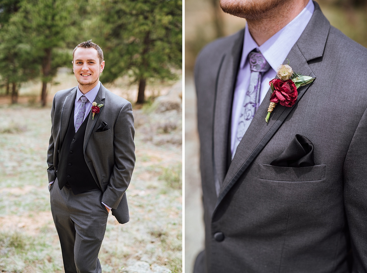 His wildflower boutonniere/boutineer is so cool! Definitely need to keep this in mind. Photo by Maddie Mae Photography