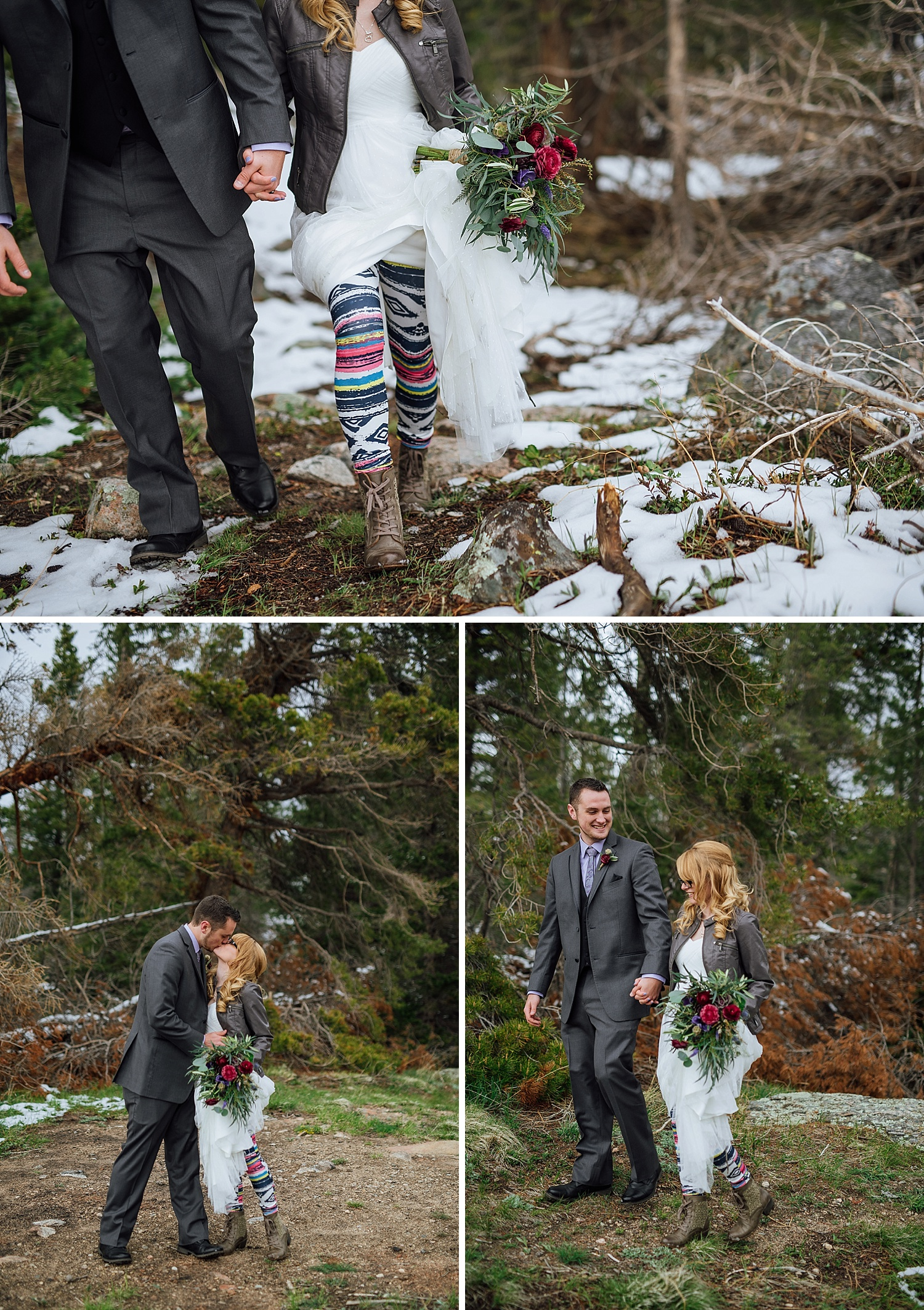 This is so unique! For winter weddings, wear striped, colorful yoga pants/leggings underneath your wedding dress. Also wear boots ad a jacket! This perfect for a mountain wedding!! Photo by Maddie Mae Photography