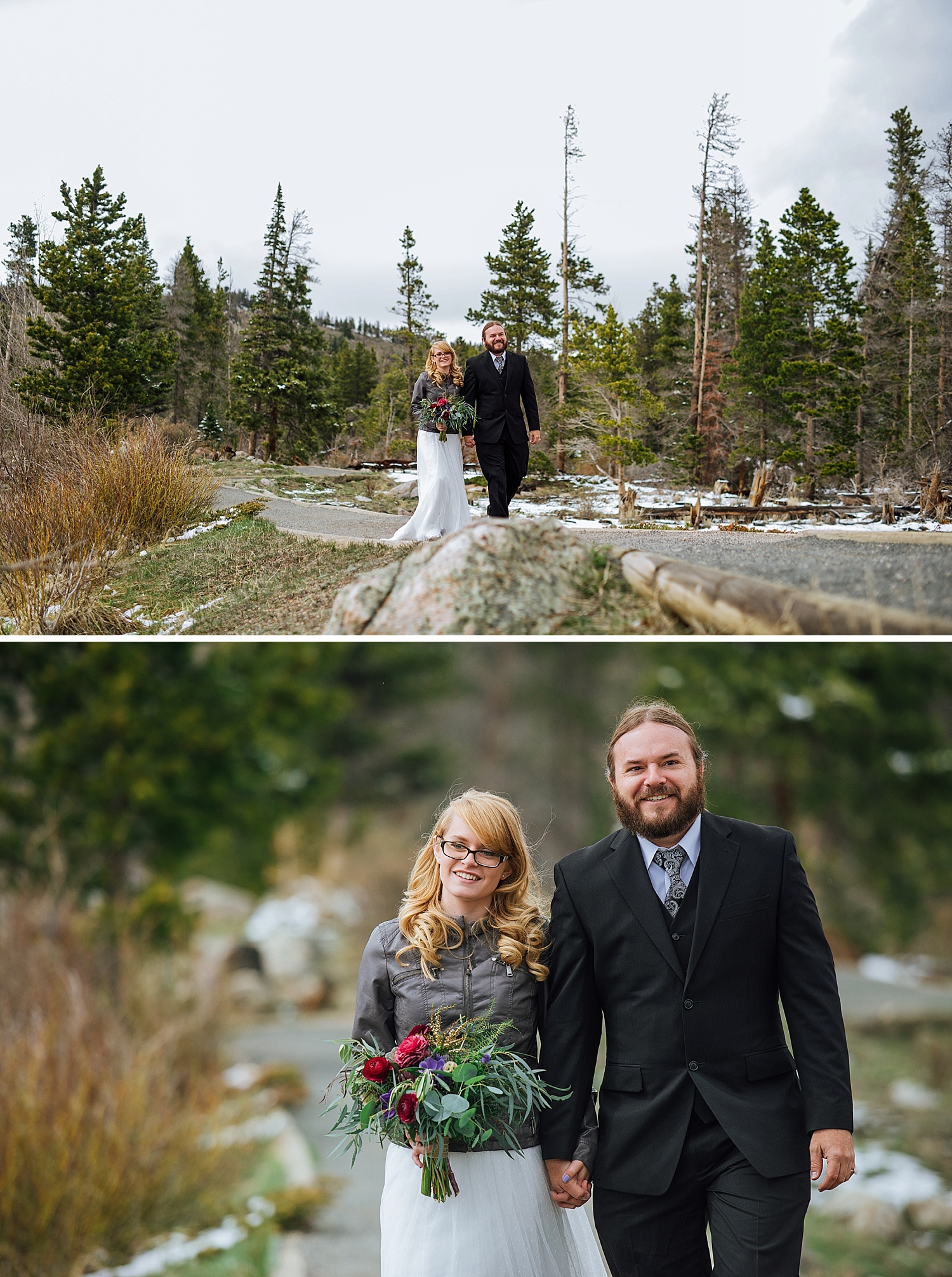 I love how she decided to wear a jacket over her dress! I think that is so smart, especially for a winter, mountain wedding. Photo by Maddie Mae Photography