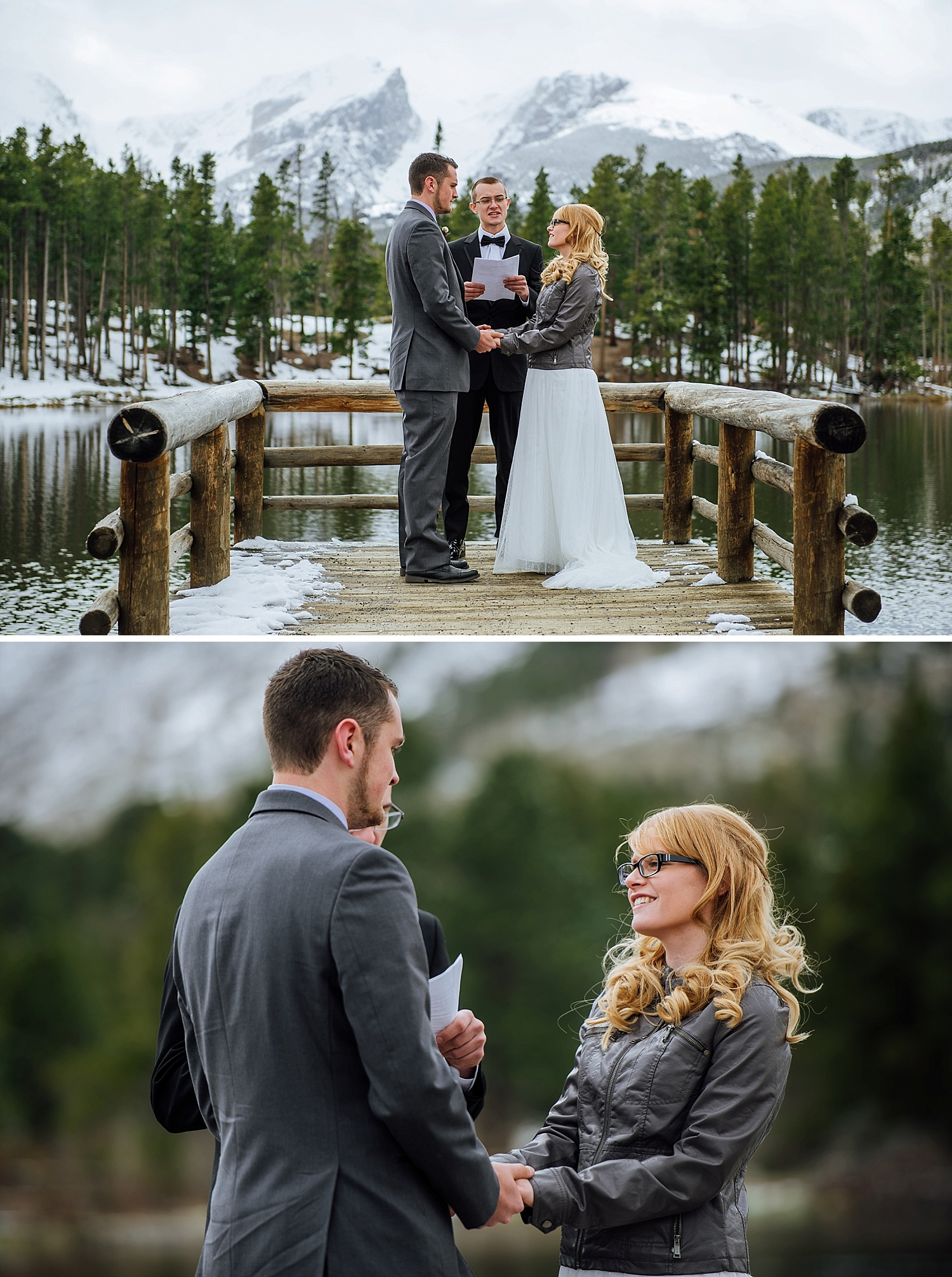 This was taken at Sprague Lake in Rocky Mountain National Park. I can't even believe this location - it's a fairytale winter wedding! Photo by Maddie Mae Photography