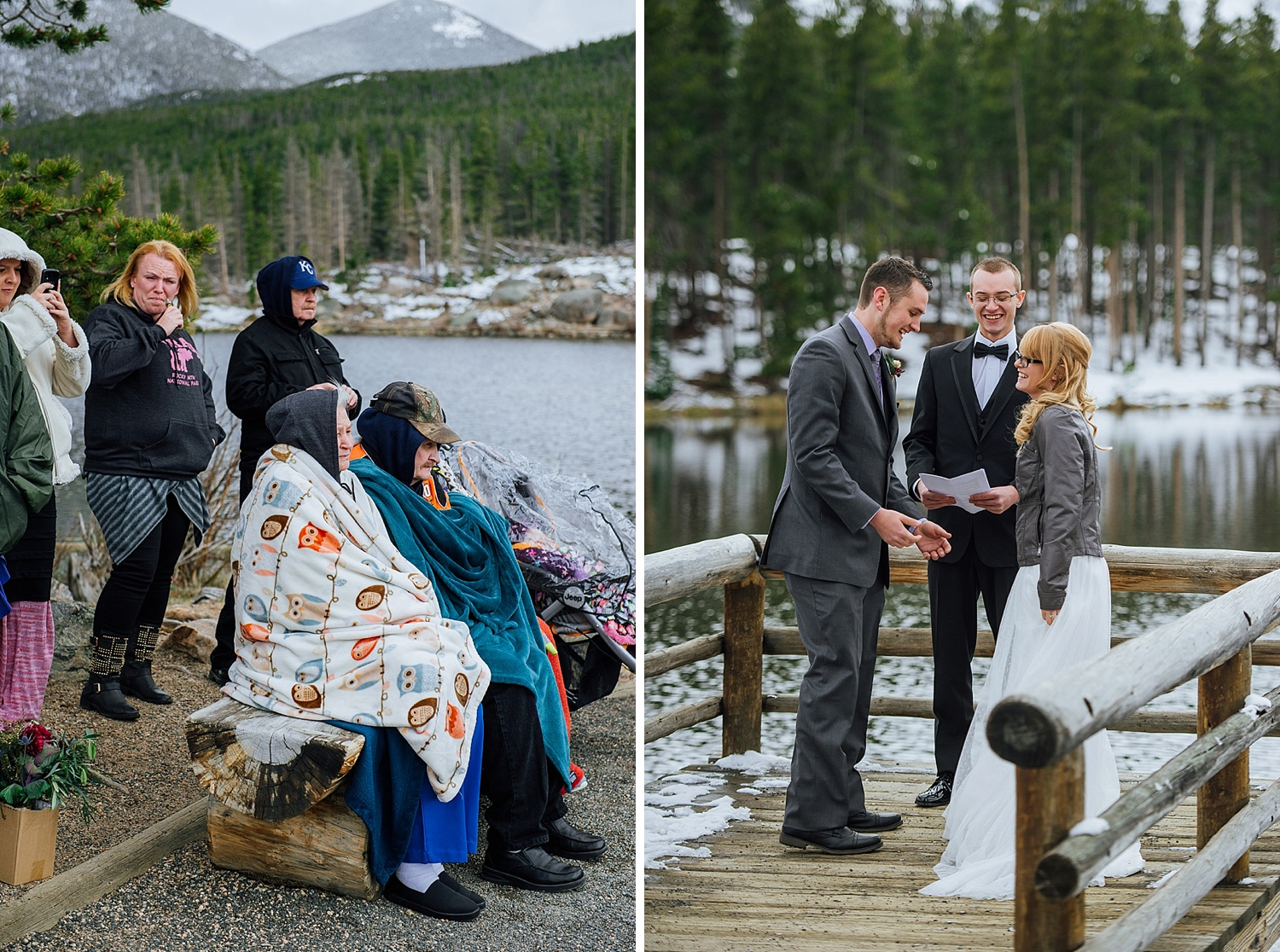 I love how some of the guests are cuddled up in blankets! It's such a sweet and intimate elopement. And with Sprague Lake in the background, it makes it look unreal! Photo by Maddie Mae Photography