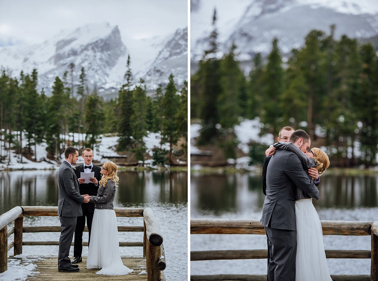 Sprague Lake is such a cool venue - especially having the ceremony right there on the dock. I love these mountain, winter, wedding/elopement photos! Photo by Maddie Mae Photography
