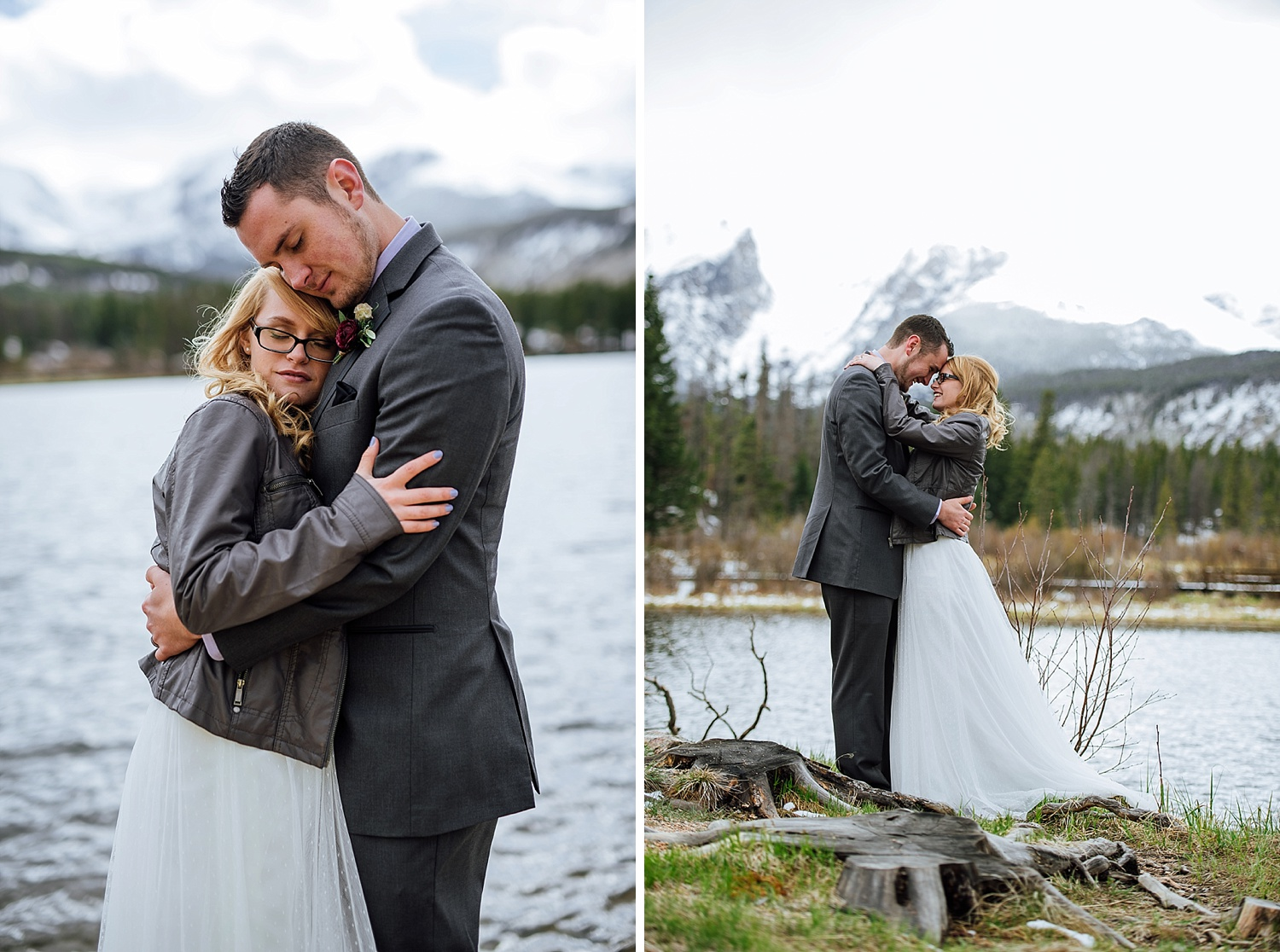 Rocky Mountain National Park is such a wonderful place to have a wedding- especially a winter one. I love how the bride is wearing a jacket over her dress and there is still snow everywhere! It's so pretty! Photo by Maddie Mae Photography